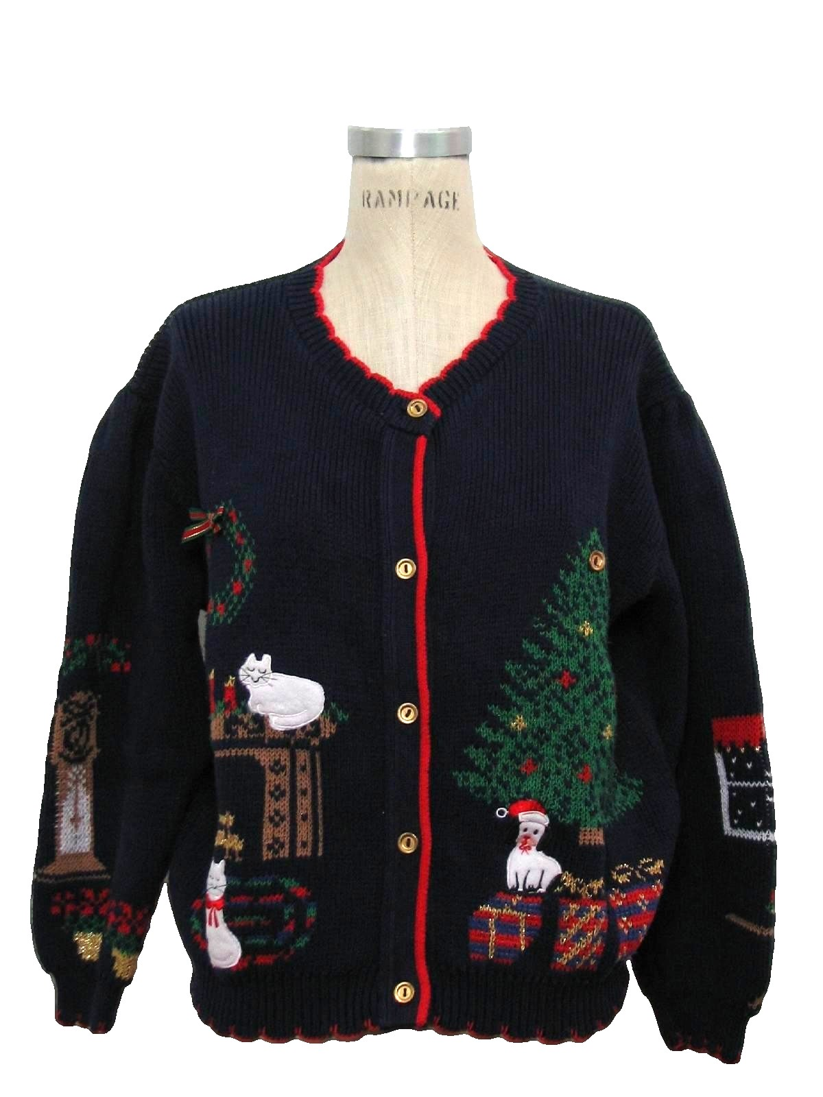 Eighties Womens Vintage Cat Tatsic Ugly Christmas Sweater 80s Authentic Vintage Made By Bonnie Noble Or Sweater Loft But Missing Label Womens Dark Blue Background Cotton Ramie Blend Button Front Longsleeve Ugly Christmas