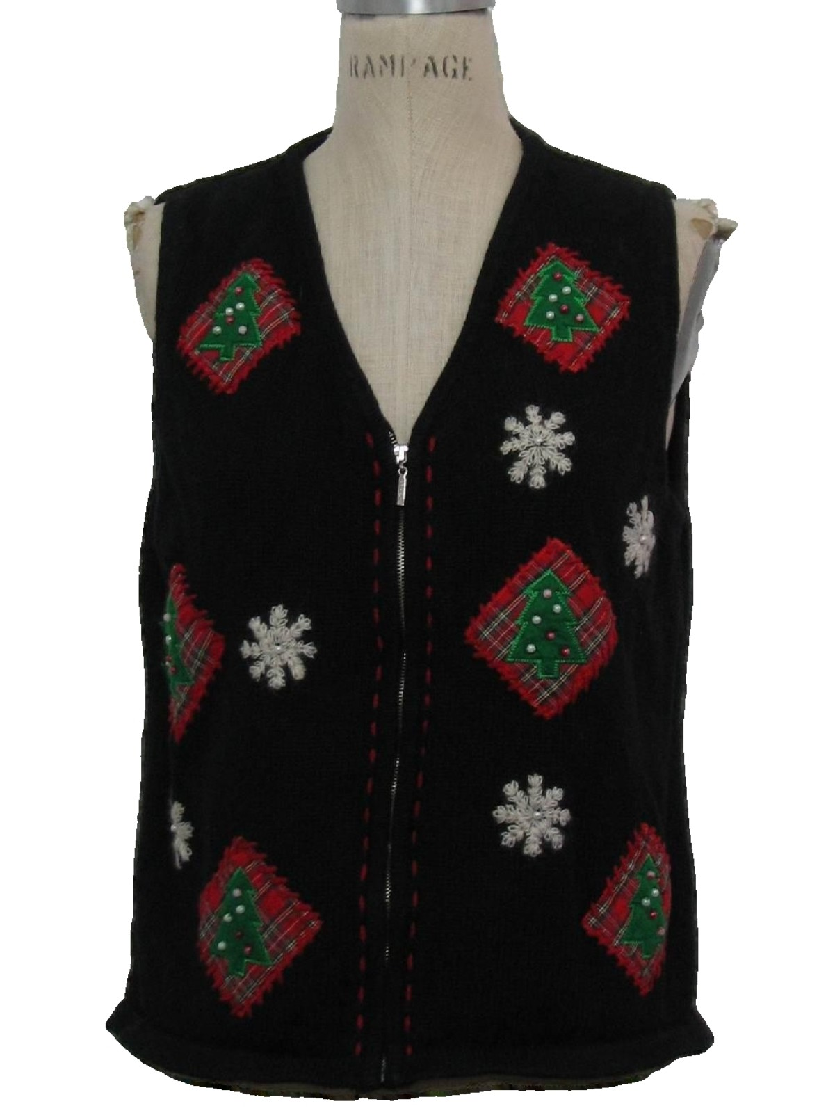 womens ugly christmas sweater vest crazy horse womens black background acrylic ramie blend zip front ugly christmas sweater vest veed neckline with - Christmas Sweater Vest