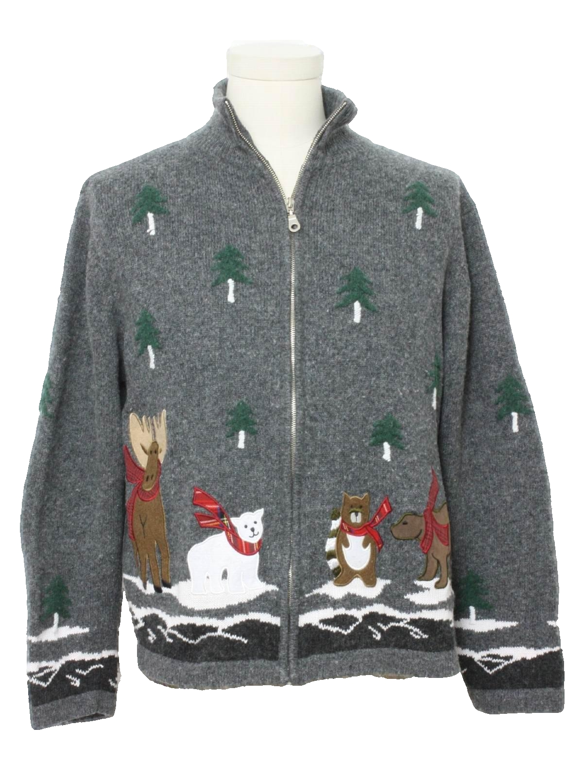 Womens Ugly Christmas Sweater Holiday Lodge Womens Gray