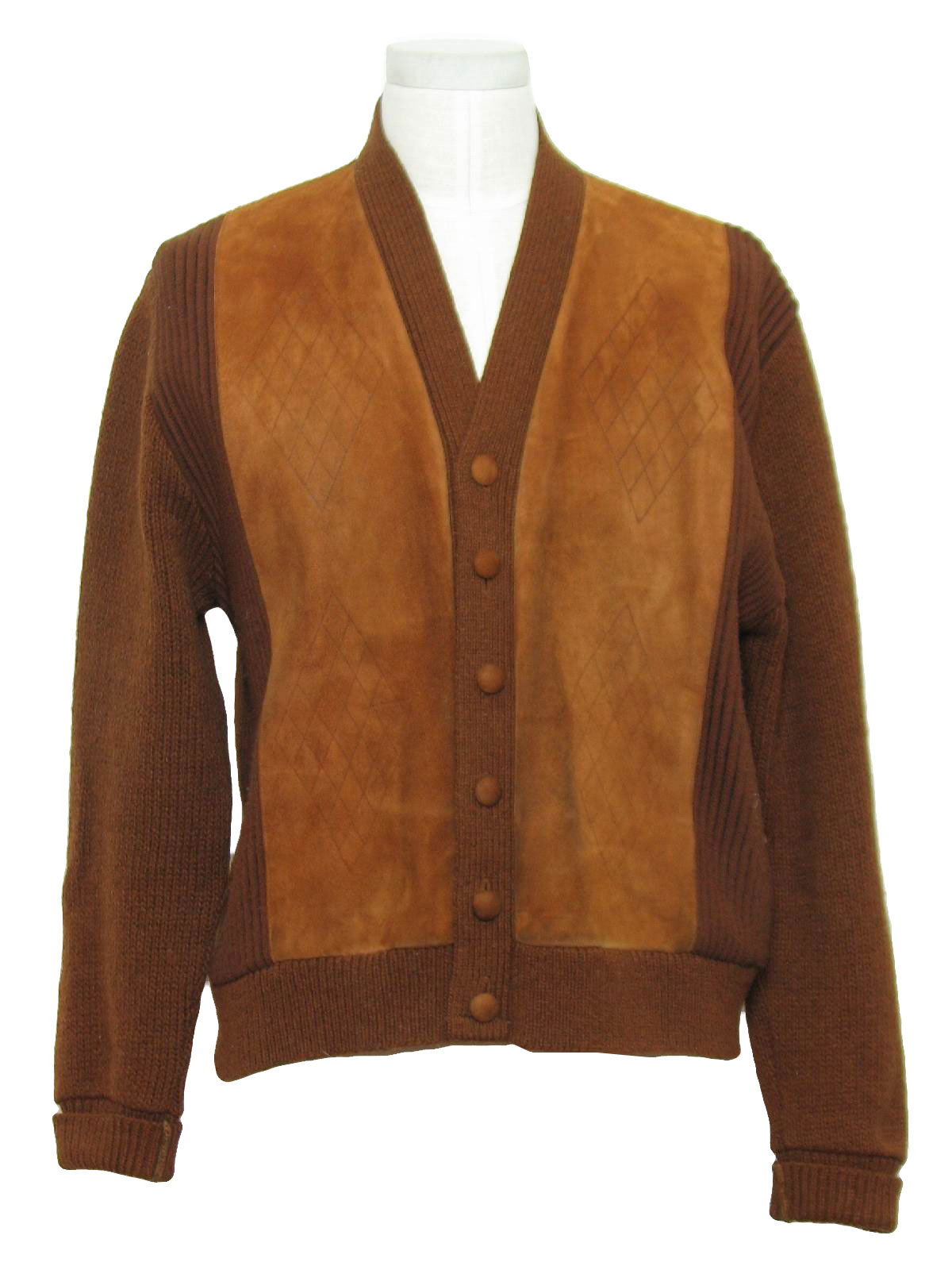 1960s Sweater Early 60s No Label Mens Brown Wool