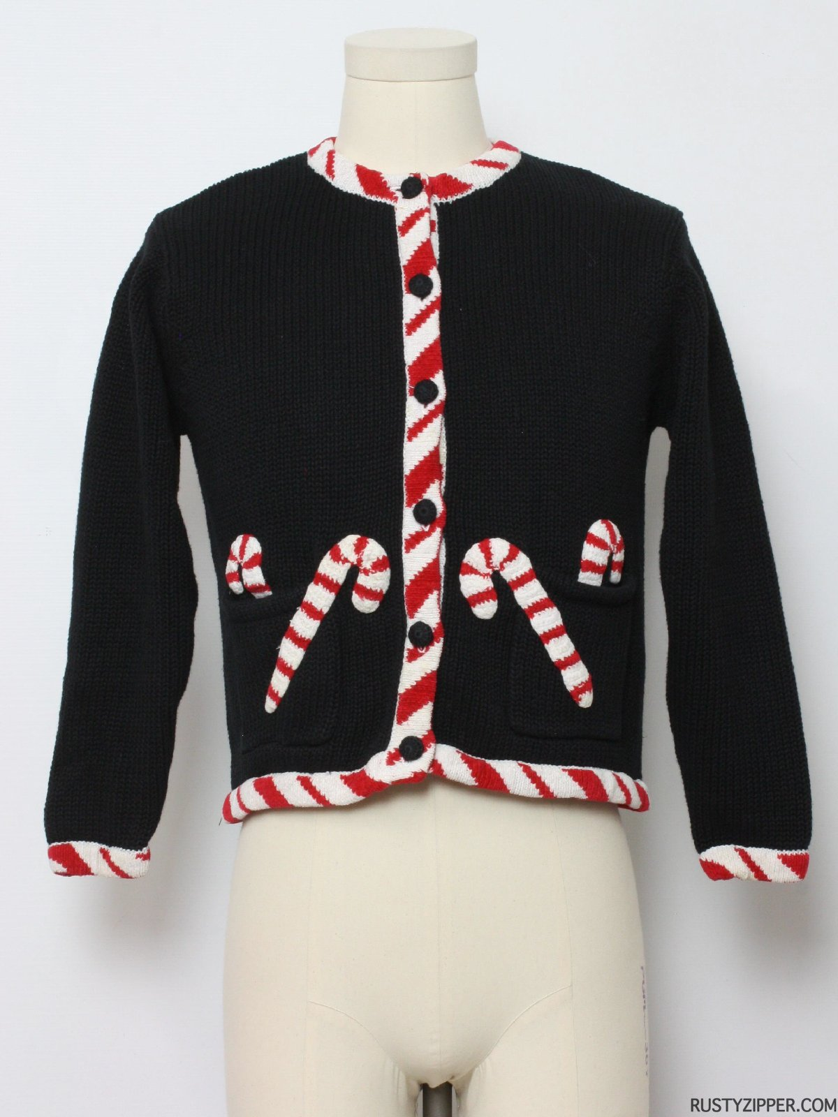 Ugly christmas sweater round neckline featuring candy canes