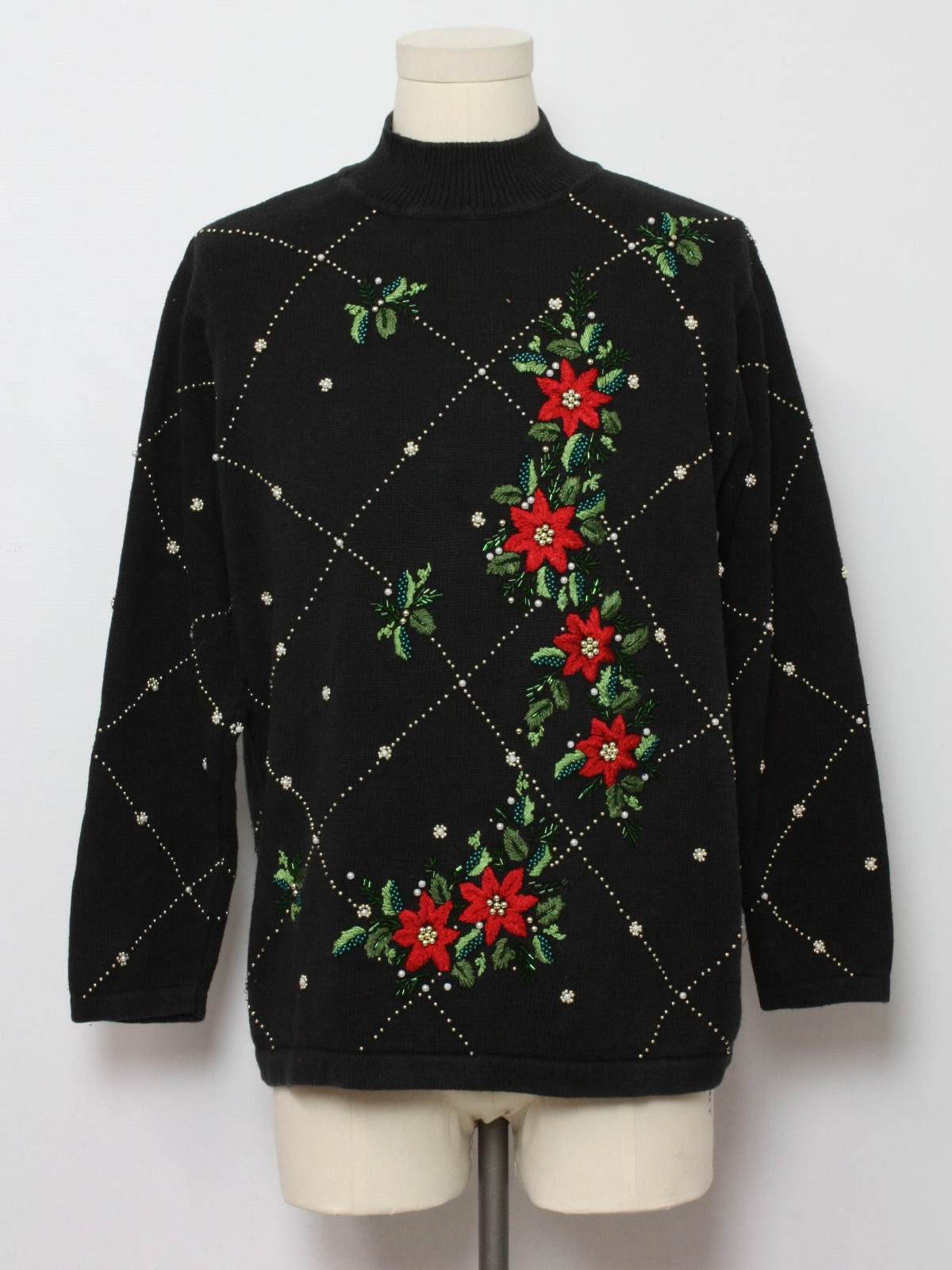 Ugly Christmas Sweater: -BP Designs- Unisex black background cotton ramie ble...