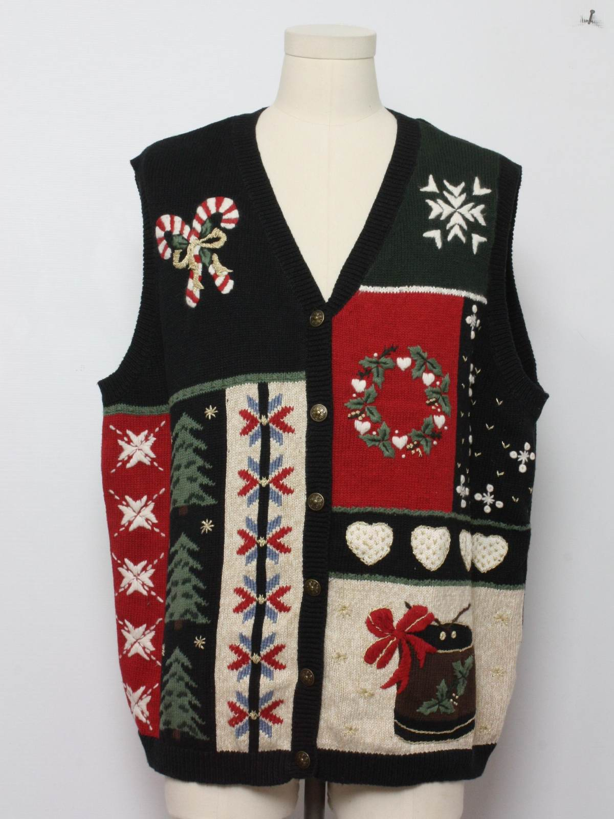 Sleeveless ugly christmas sweater vest veed neckline with candy canes