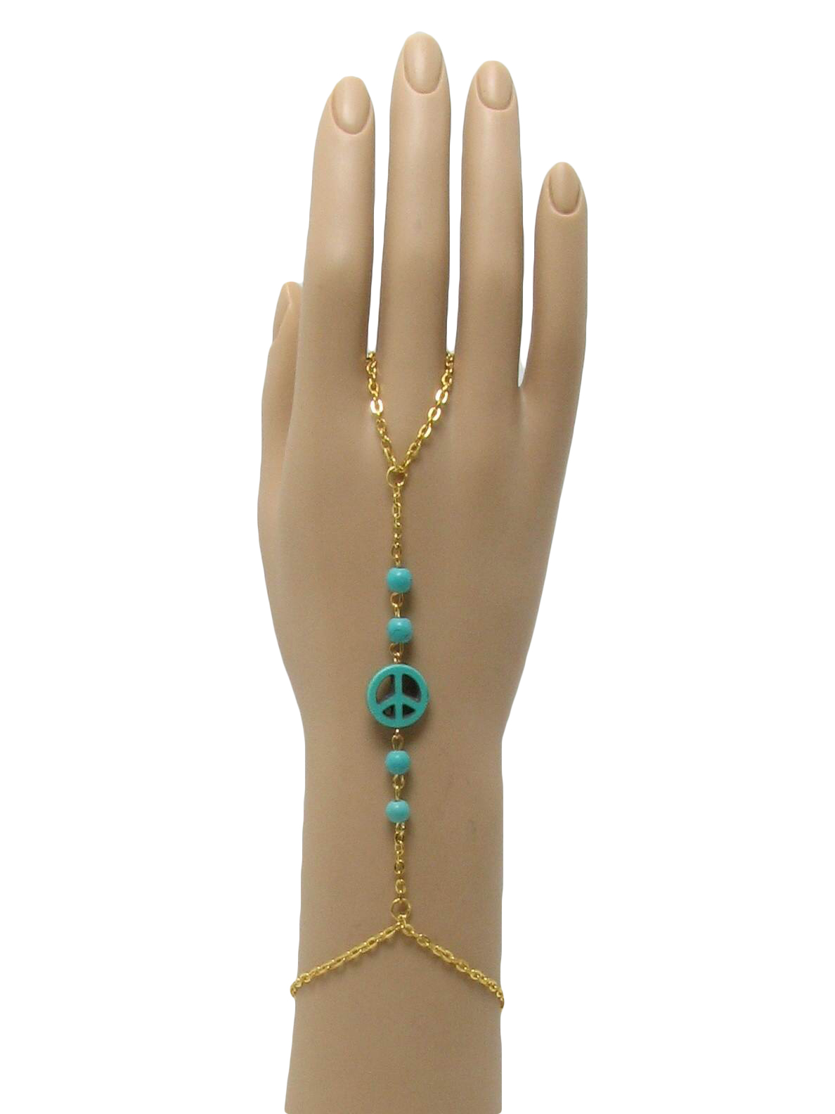 70u0027s Missing Label Ring: 70s Style (made Recently)  Missing Label  Womens  Gold Hippie Ring With Attached Bracelet That Has A Cute Turquoise Peace  Symbol And ...