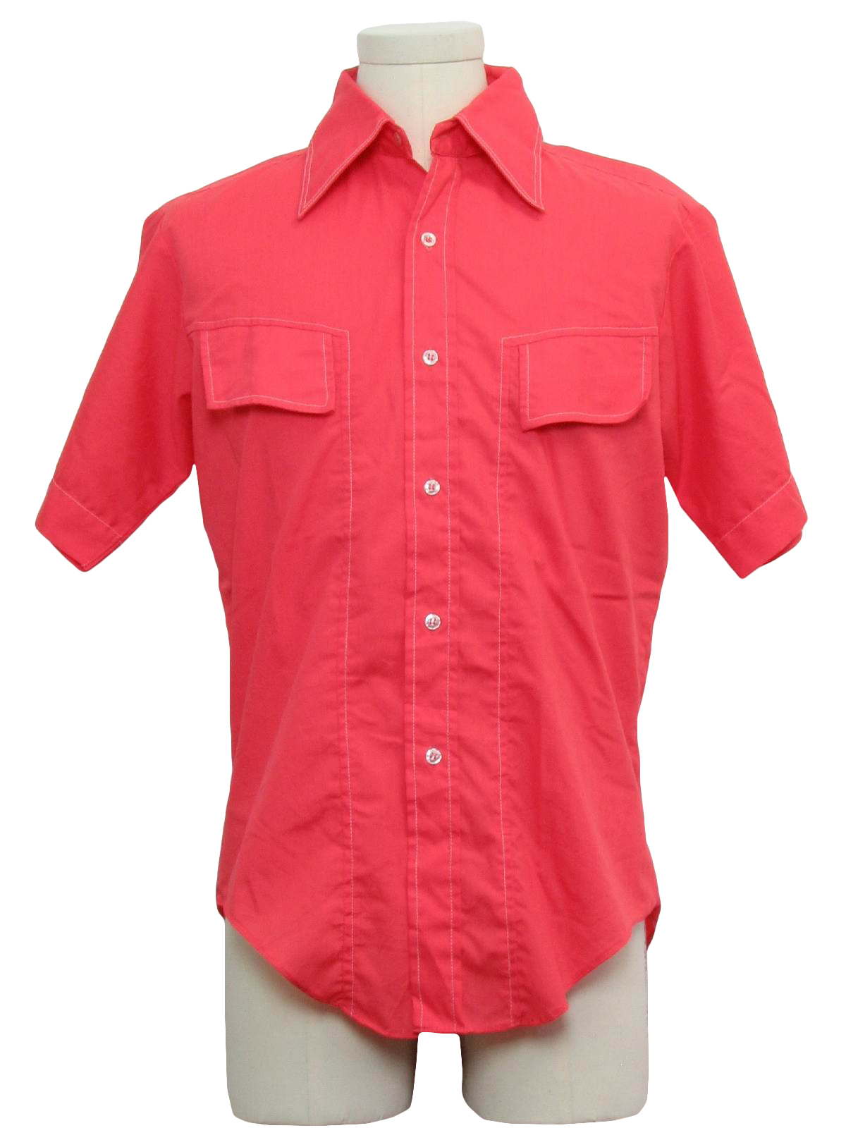 Retro 1970s shirt 70s marlboro mens coral pink for Mens dress shirt button covers