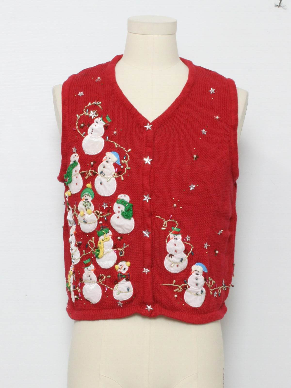 Womens Ugly Christmas Sweater Vest: -Care Label Only- Petite Womens