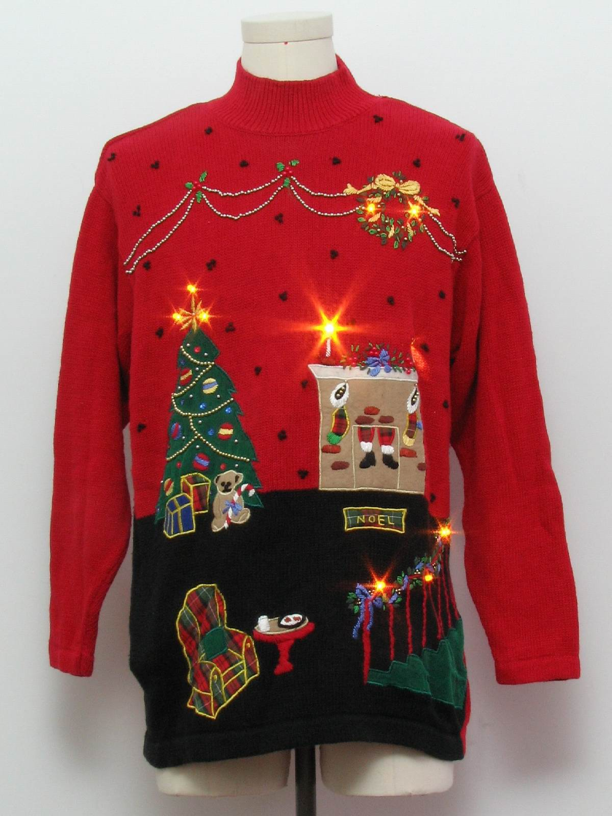 Amber Lightup Ugly Christmas Sweater Victoria Jones Unisex Red Background Cotton Ramie Blend