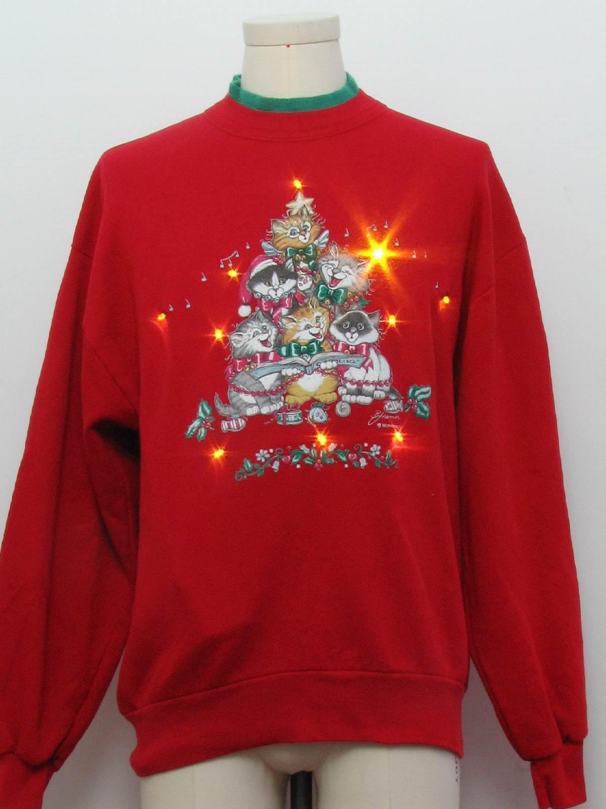 Amber Lightup Cat Tastic Ugly Christmas Sweatshirt