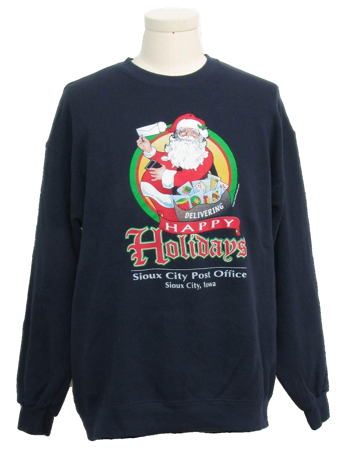 Post Office Ugly Christmas Sweatshirt Lee Unisex Dark Blue