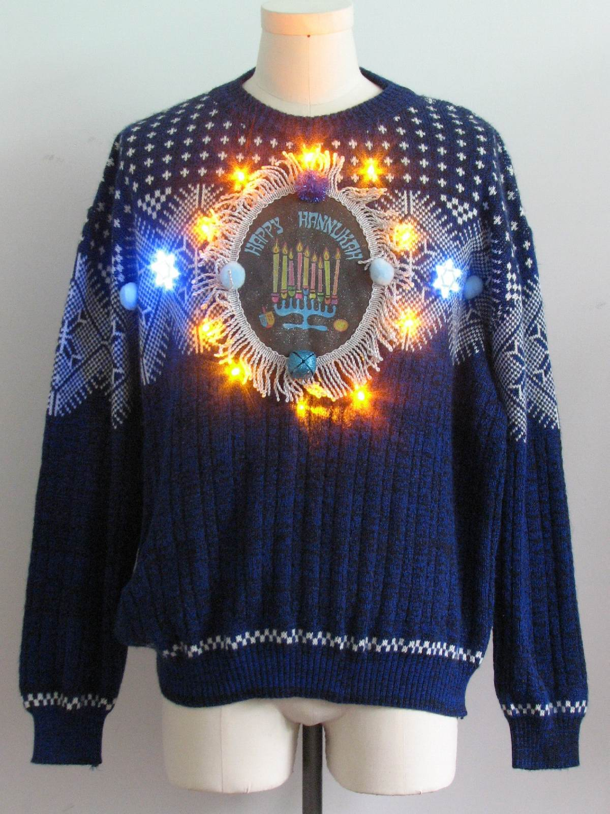 Mens Amber Lightup Hanukkah Ugly Christmas Sweater