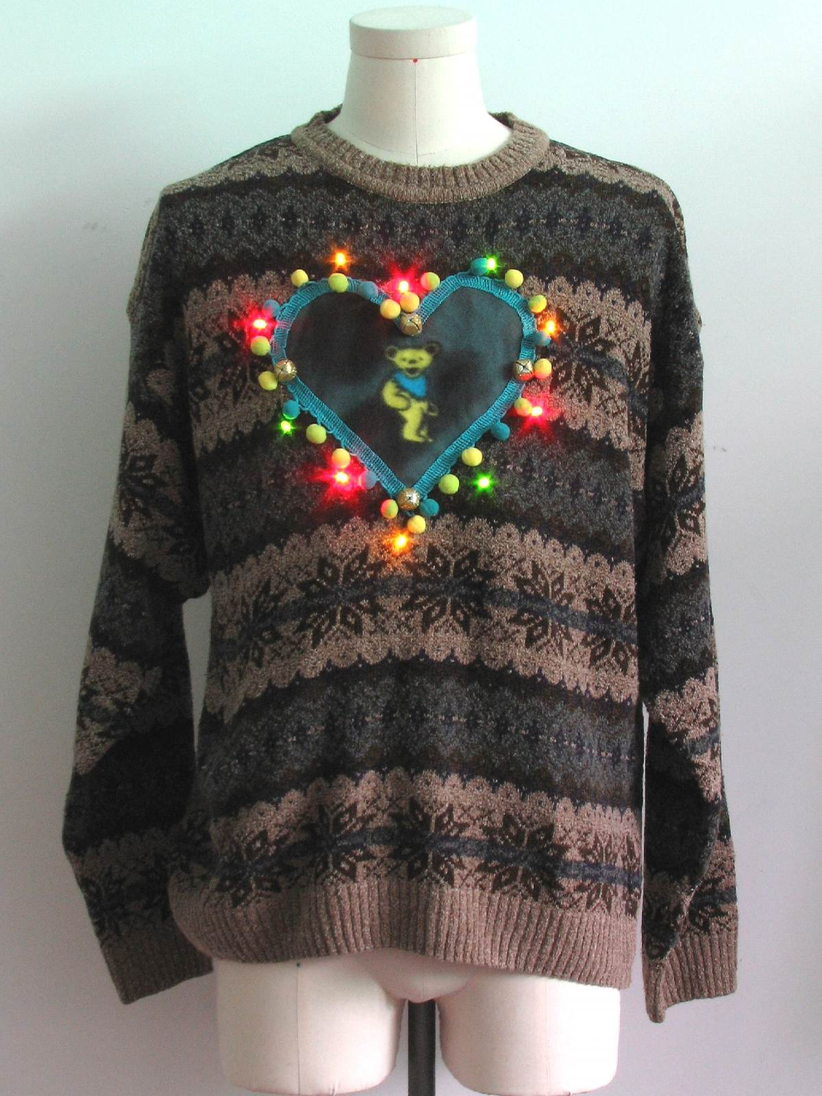 Mens Multicolor Lightup Grateful Dead Ugly Christmas Sweater ...