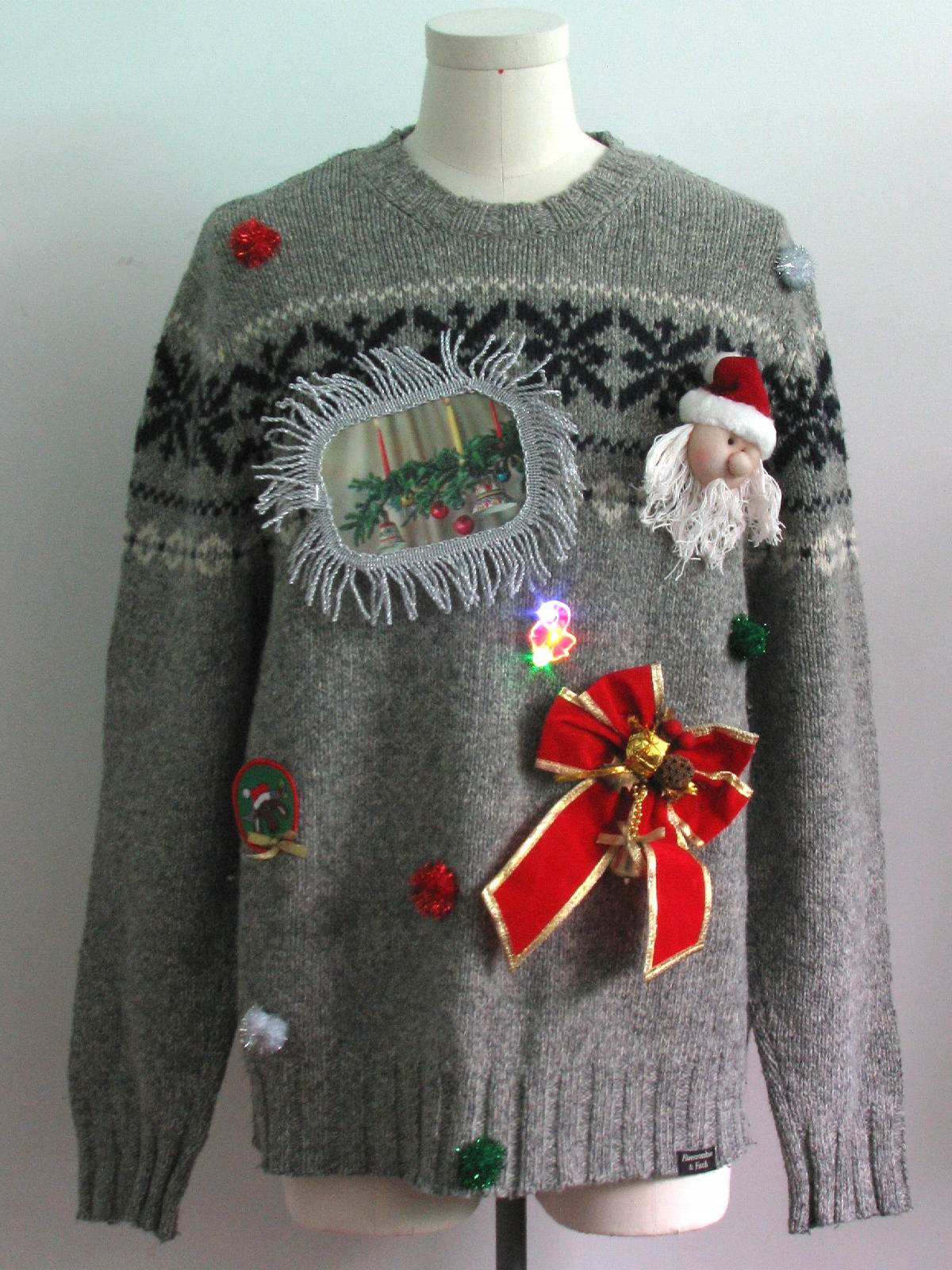 Ugly Christmas Jumper Knitting Pattern : Mens Hand Embellished Ugly Christmas Sweater: -Abercrombie and Fitch- Mens gr...