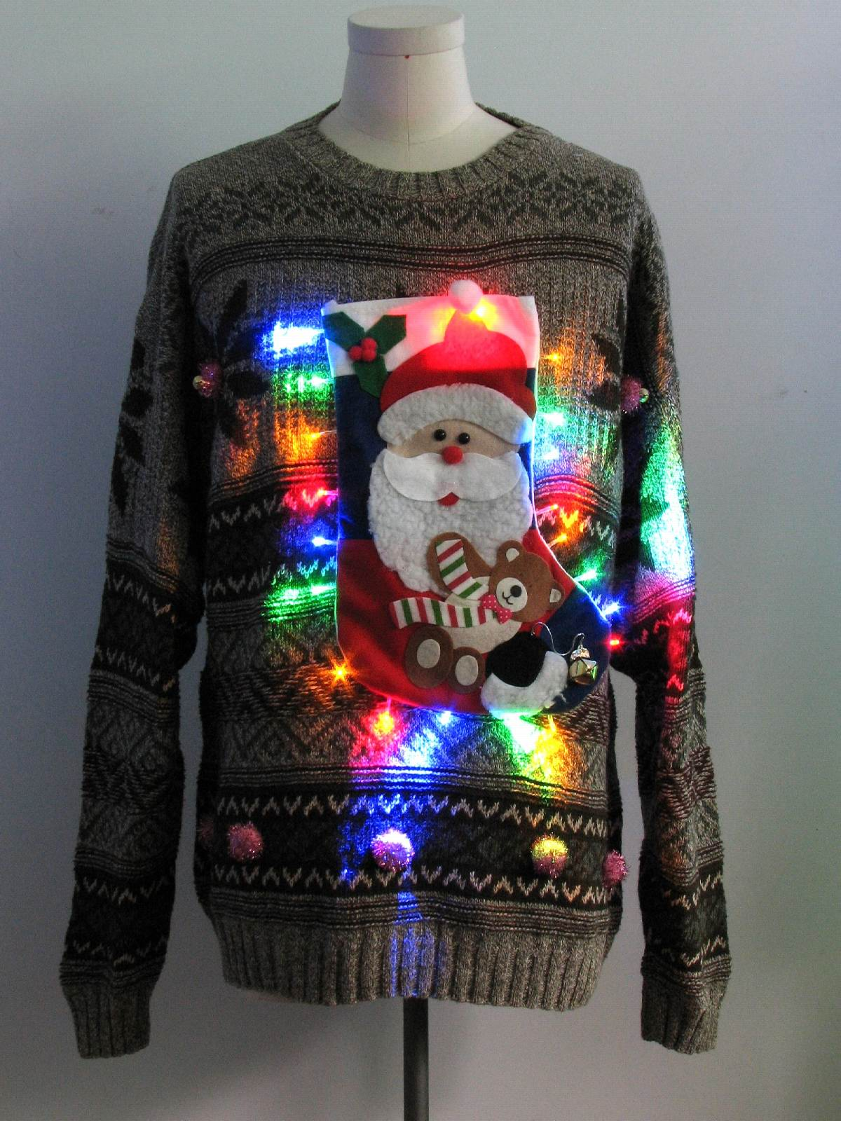 Mens Multicolor Lightup Hand Embellished Ugly Christmas Sweater ...