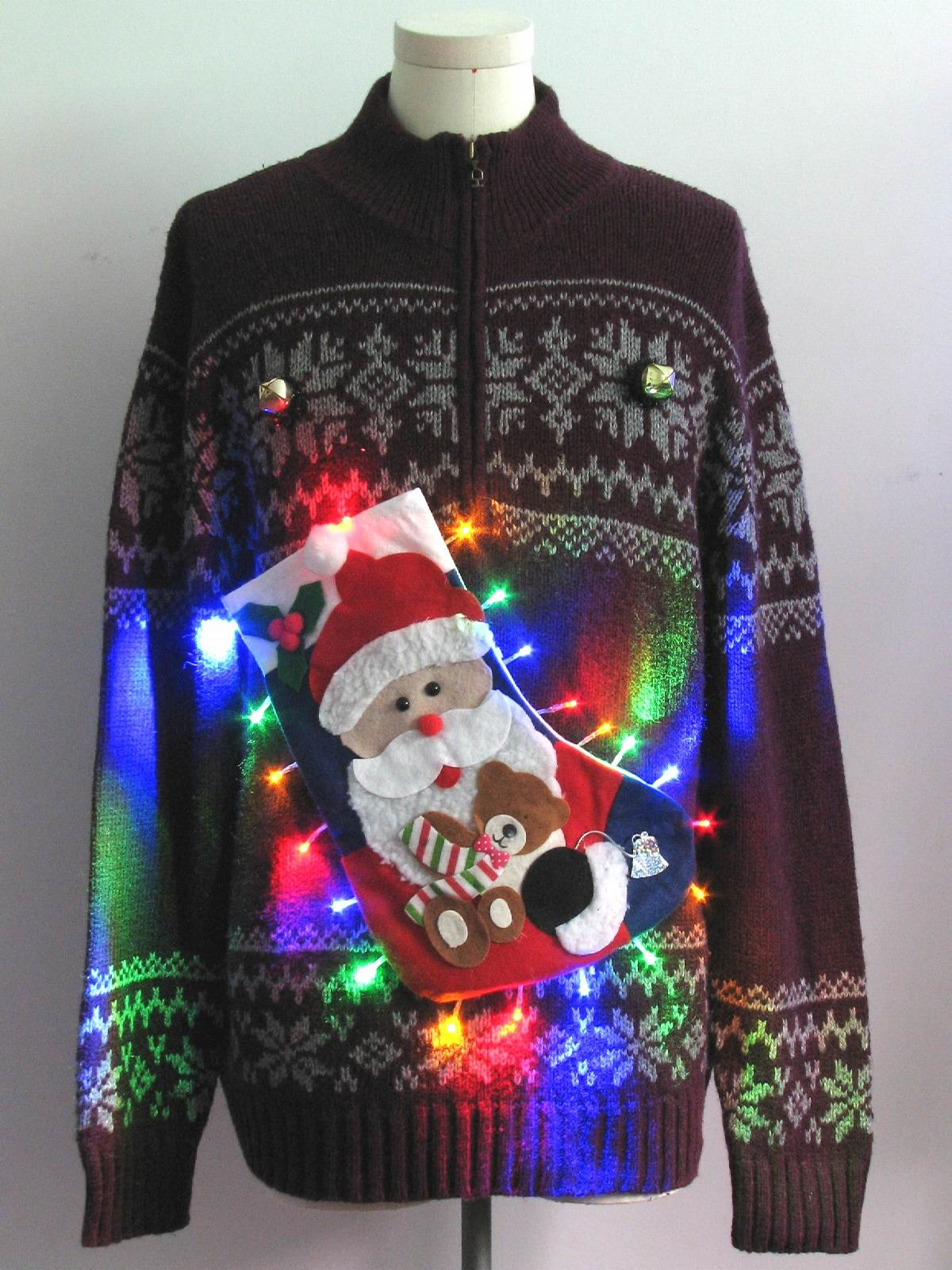 Mens Multicolor Lightup Hand Embellished Ugly Christmas Sweater: -St ...