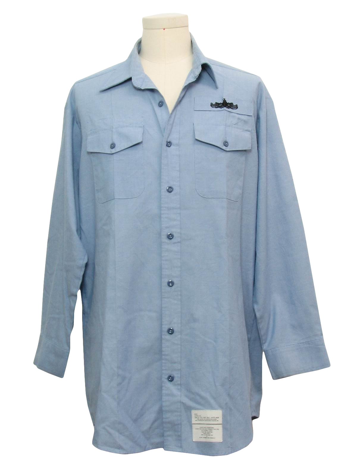 Vintage 1980 39 s shirt 80s creighton mens chambray blue for Blue cotton work shirts