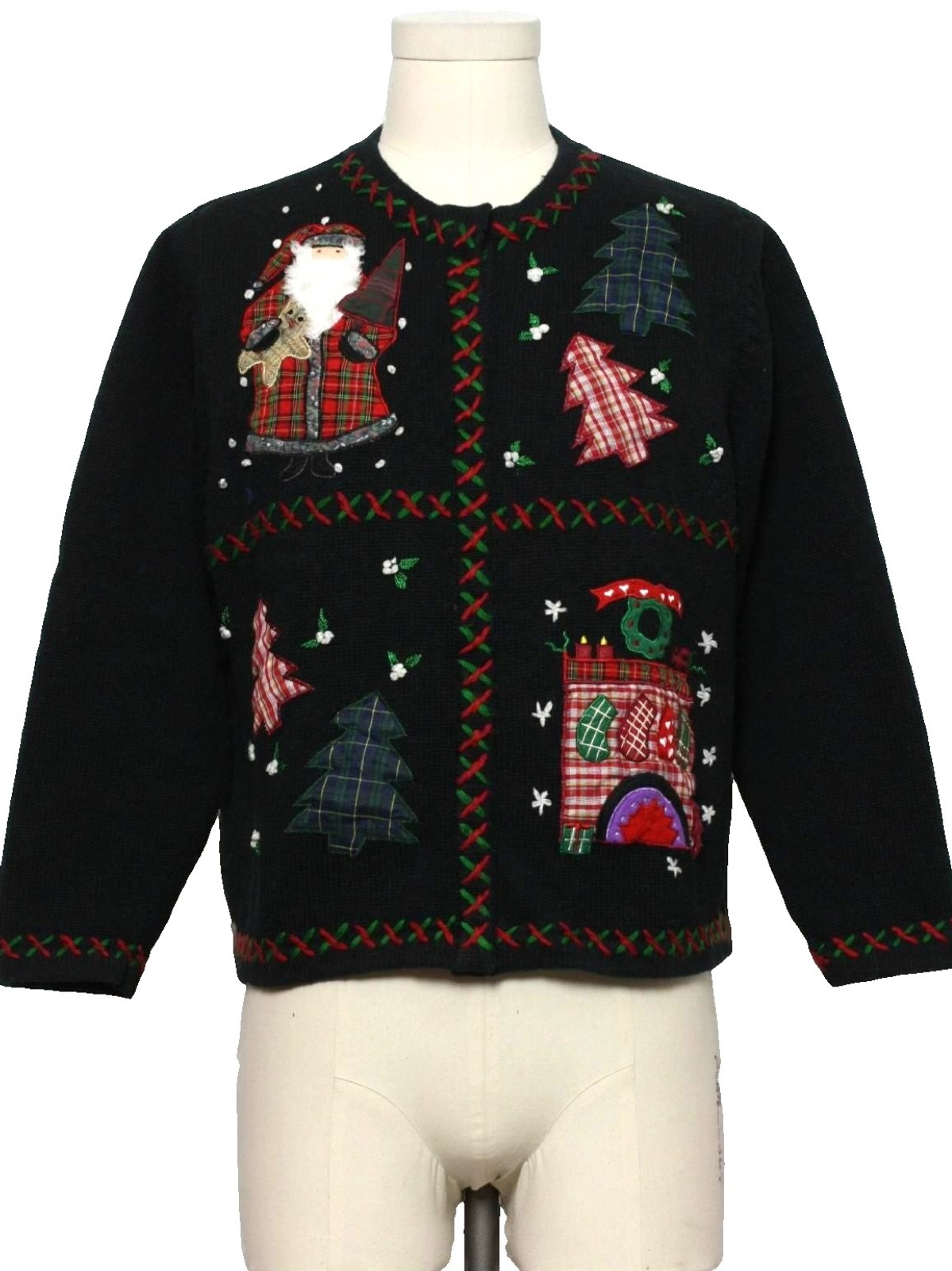 Womens Country Kitsch Ugly Christmas Sweater All Points Womens Black Background Cotton Ramie