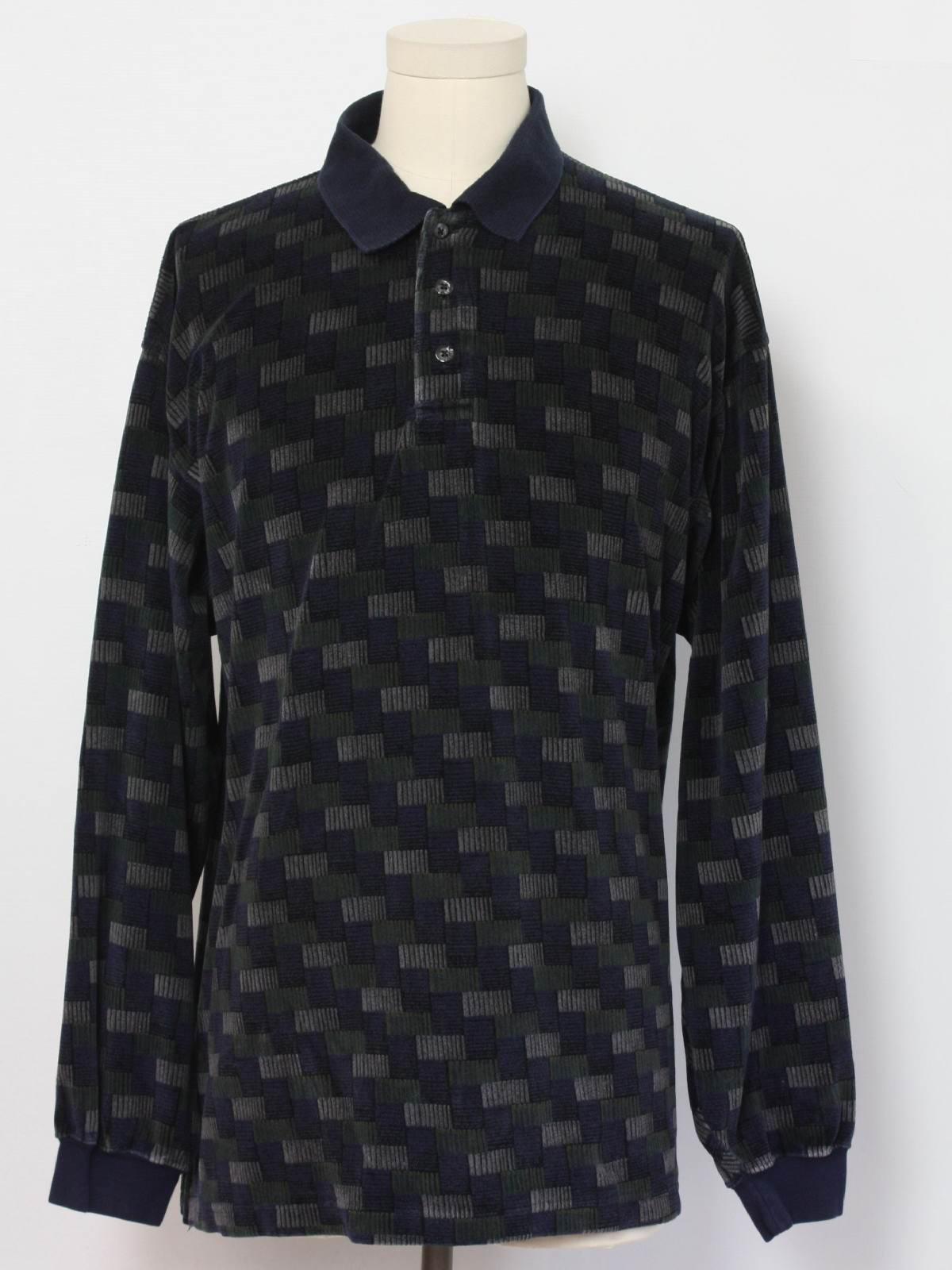 Retro Nineties Velour Shirt 90s Chereskin Mens Navy