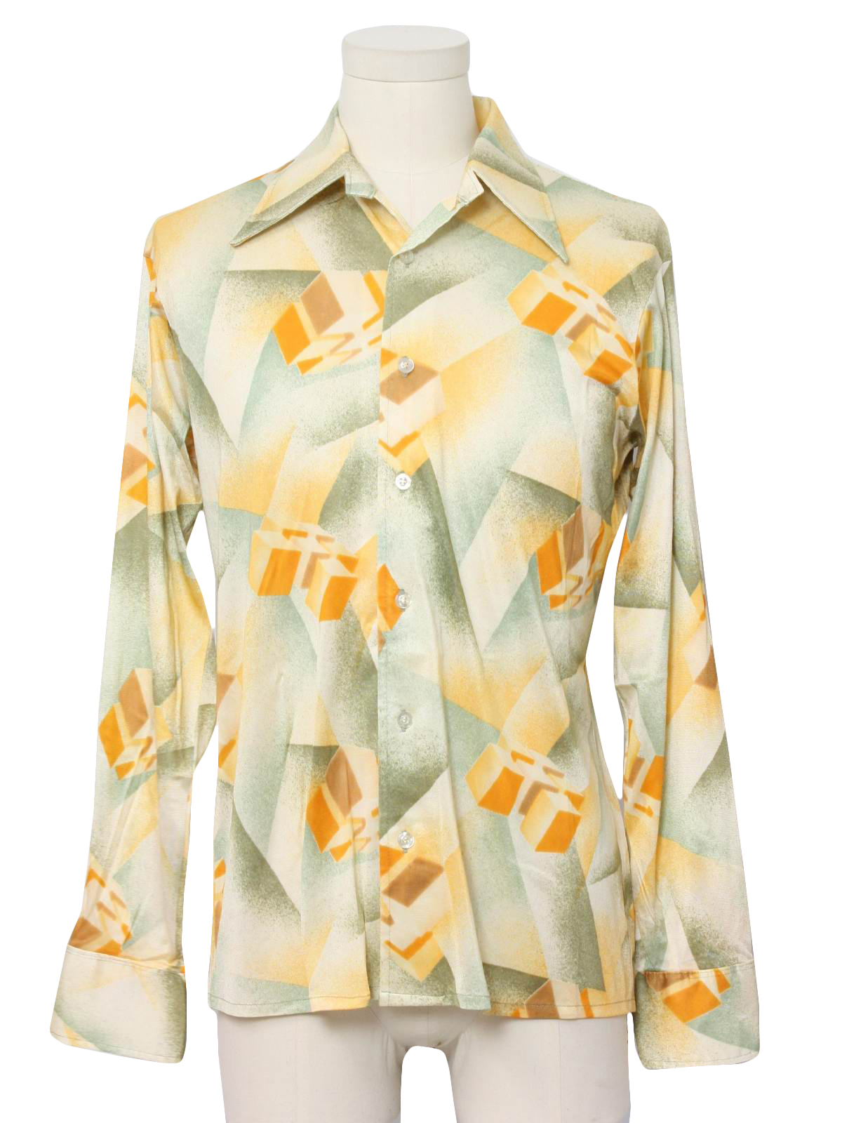 Retro 70s print disco shirt harris and frank 70s for Mens shirts with cufflink holes
