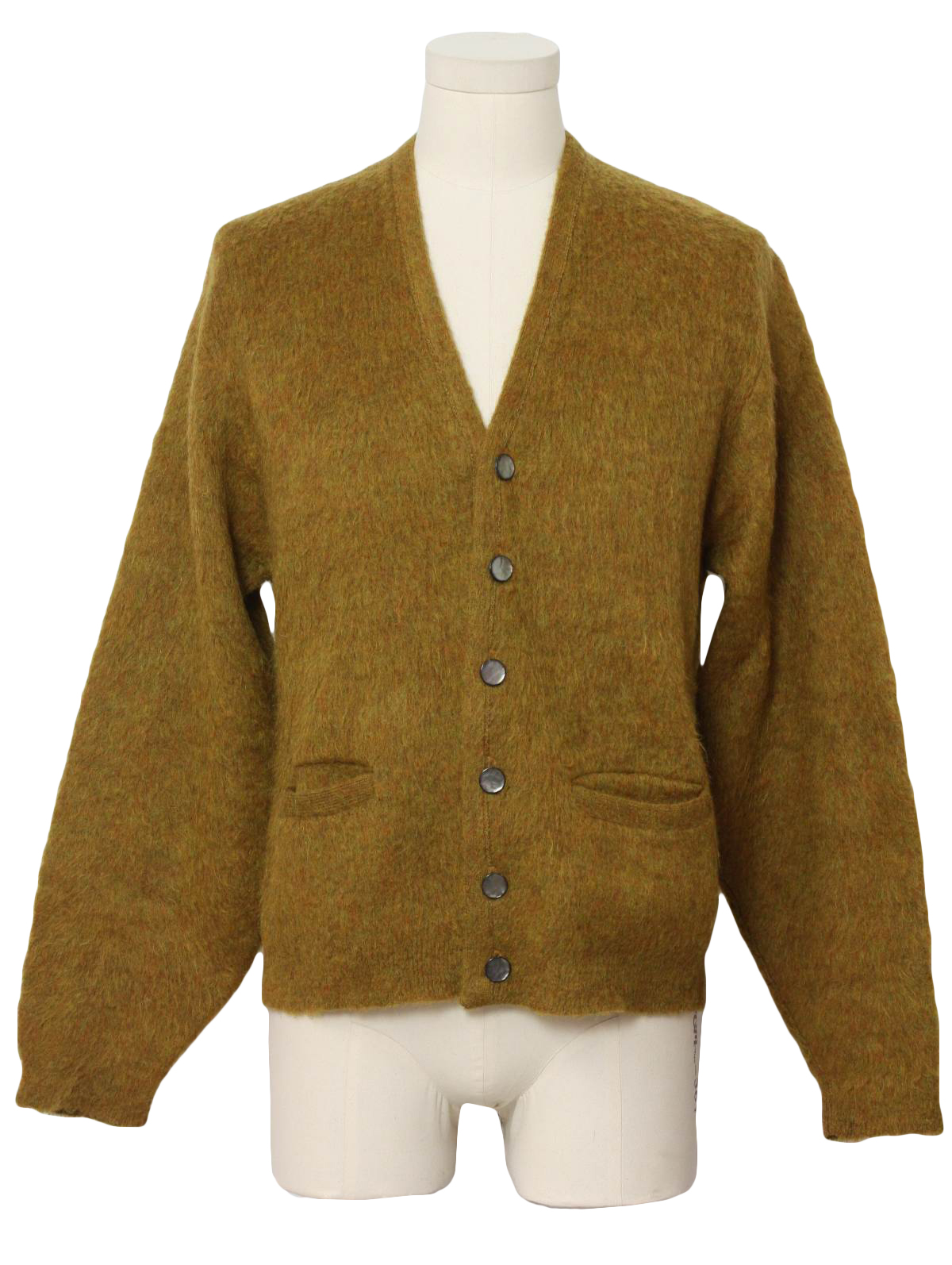 60's Vintage Caridgan Sweater: 60s -Campus- Mens olive green and ...
