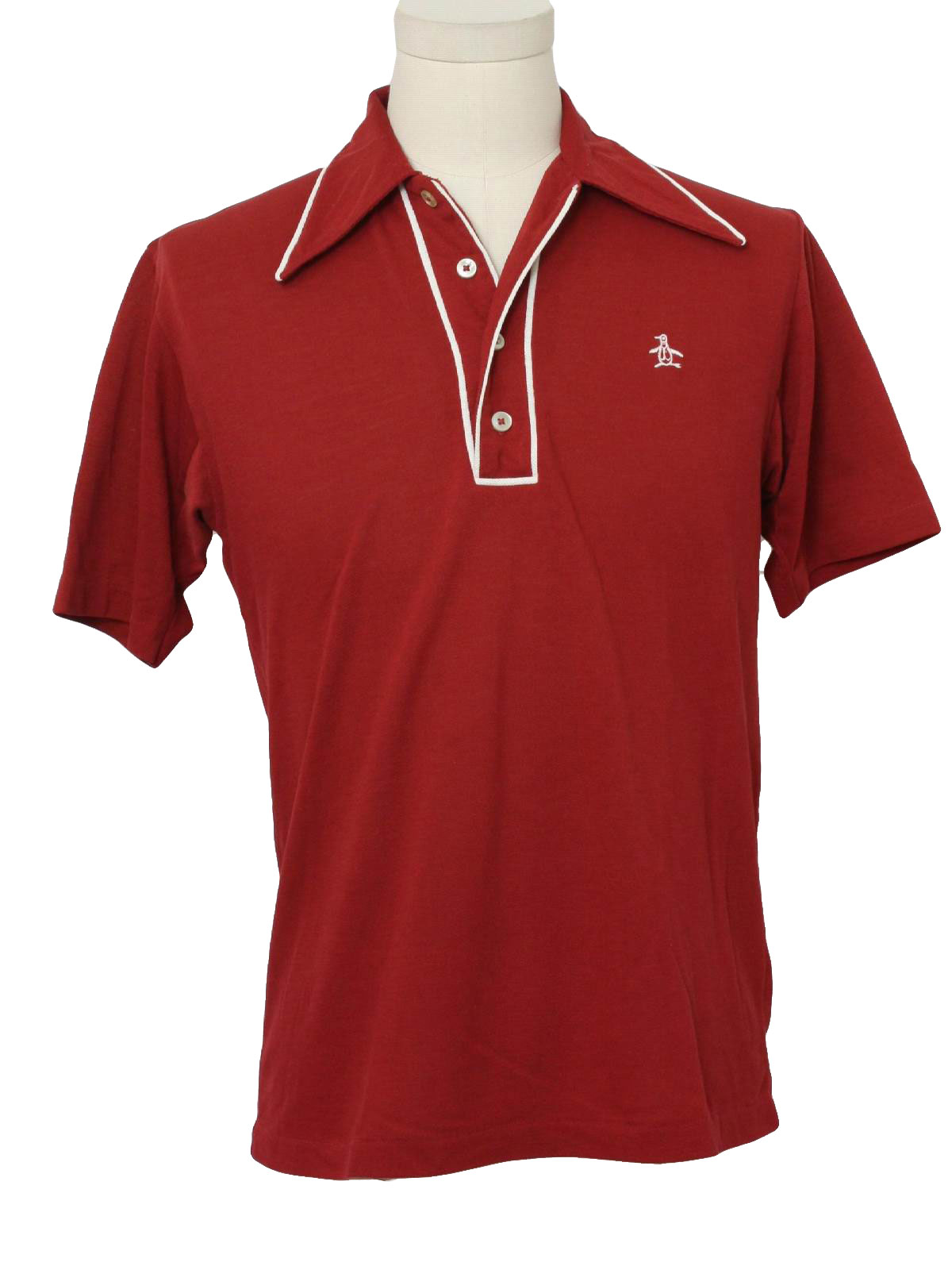 Retro seventies shirt 70s grand slam mens wine woven for Golf shirt with penguin logo