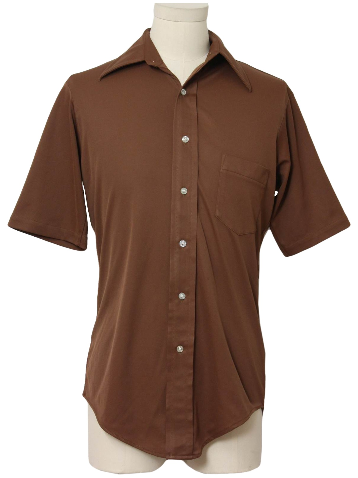 Vintage 1970 39 s disco shirt 70s van heusen splendor mens for Mens chocolate brown shirt