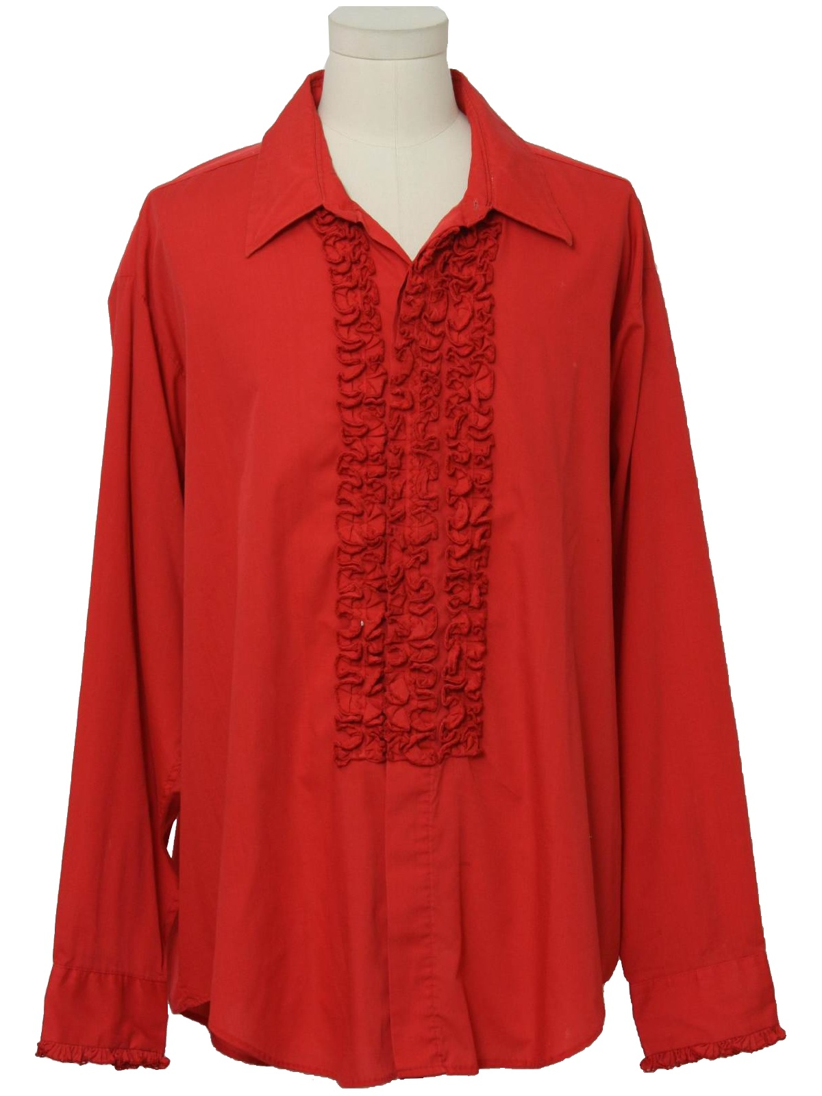 Retro 70 39 s shirt 70s lion of troy mens tomato red for Red ruffled tuxedo shirt