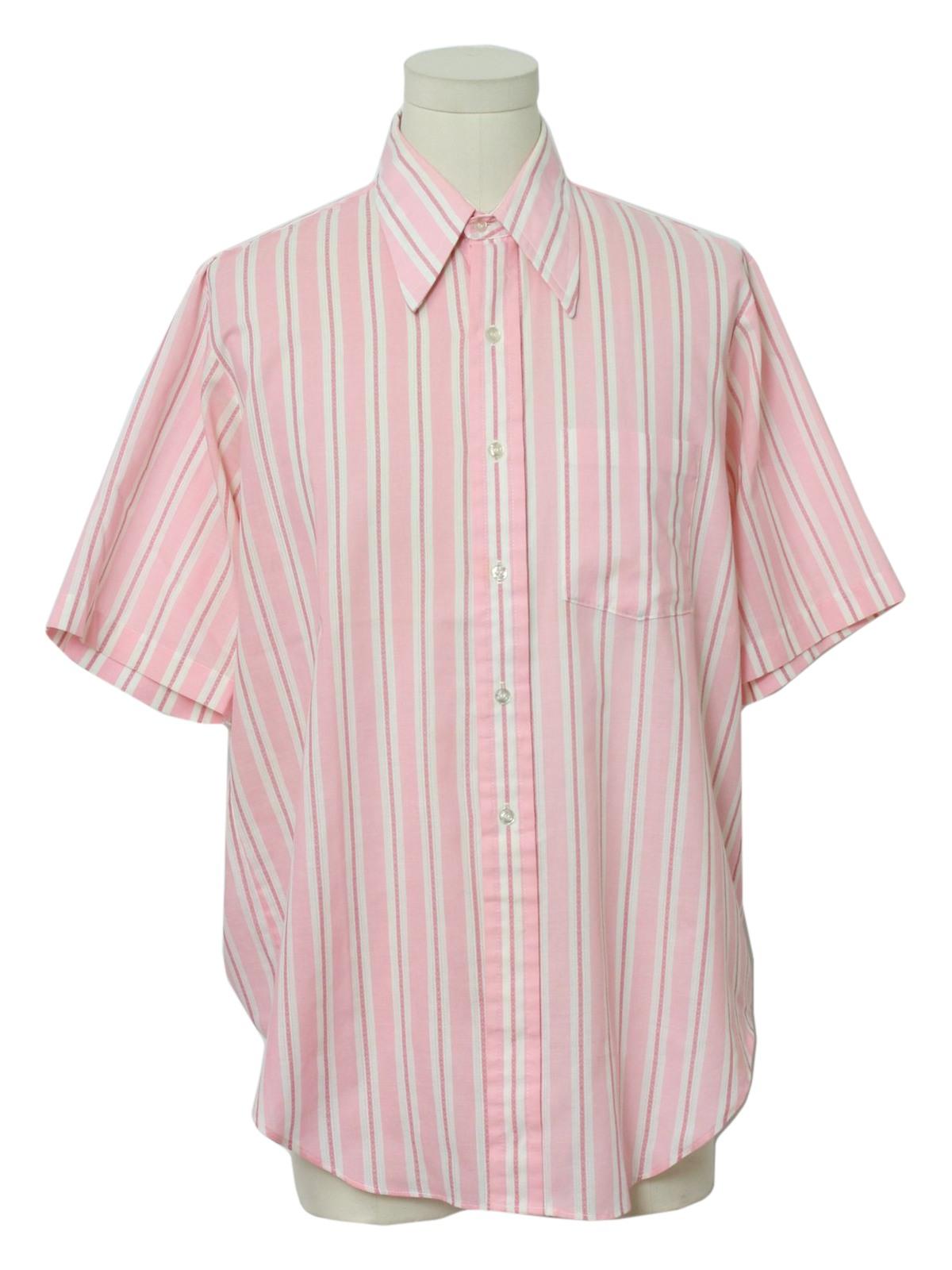 70s Men's Short-Sleeve Striped Shirt TohugHXO
