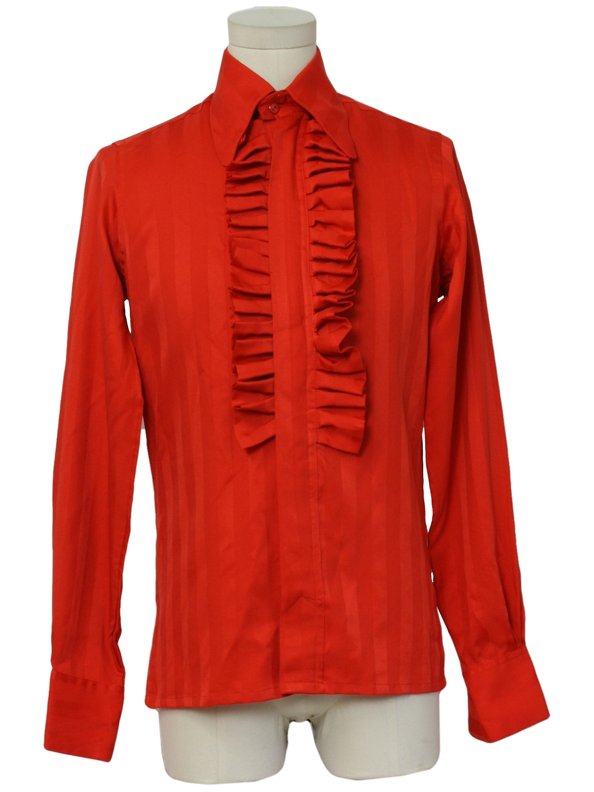 1970 39 s retro shirt 70s alex dallal mens red satiny for Red ruffled tuxedo shirt