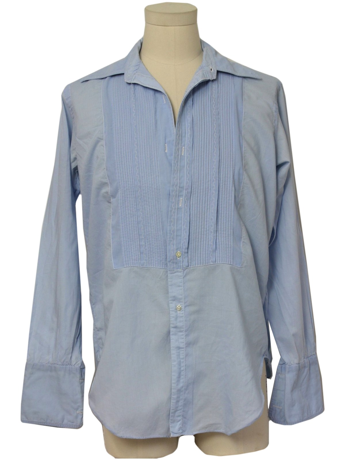 Badowers 70 39 s vintage shirt 70s badowers mens light sky for Mens dress shirts with cufflink holes