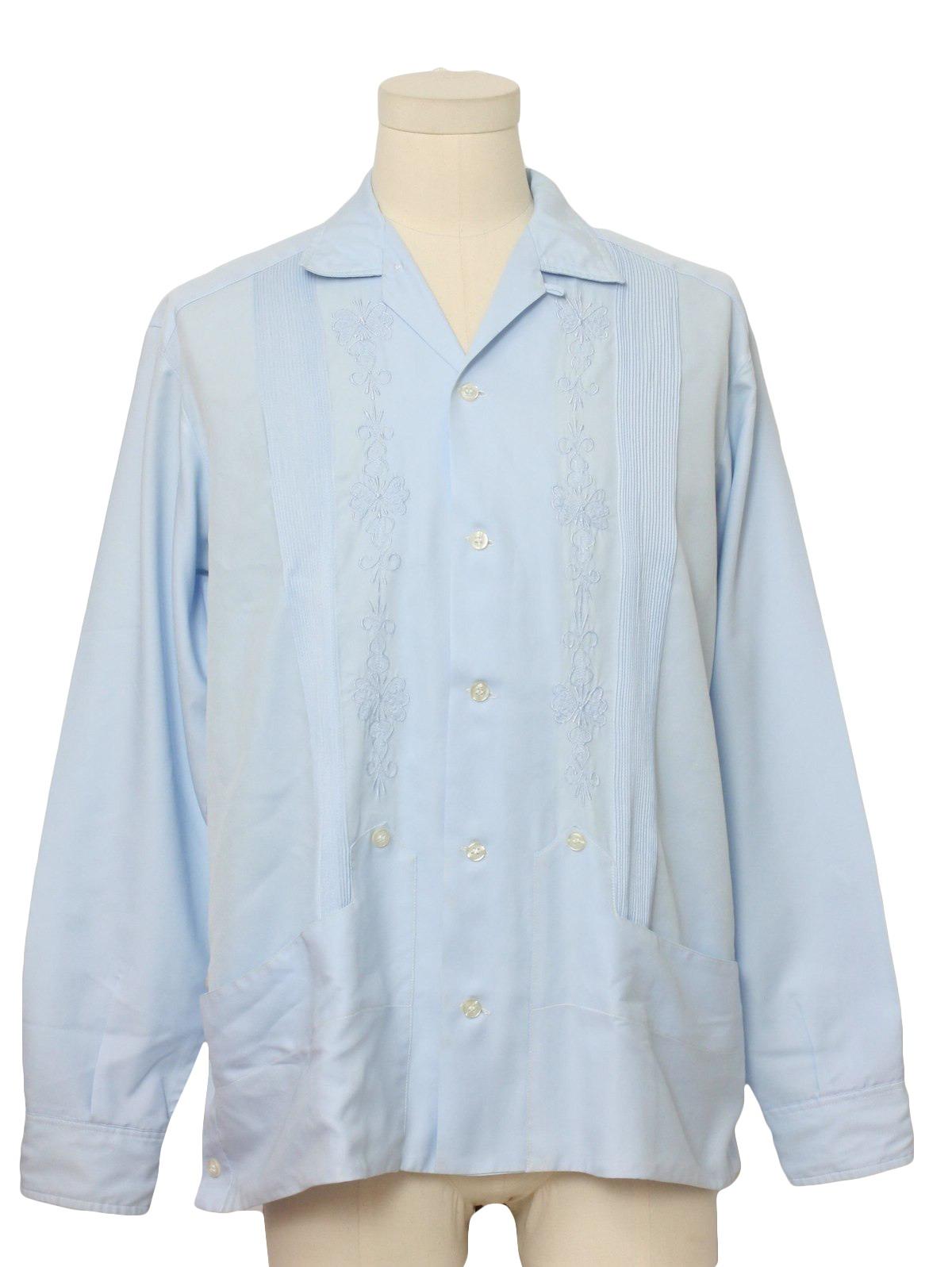 7c1f493f 1960's Vintage Cubana Guayabera Shirt: 60s -Cubana- Mens light blue silky  polyester longsleeve Guayabera or Mexican wedding shirt.