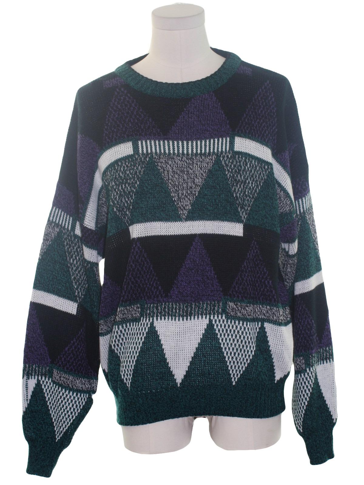 Eighties Vintage Sweater: 80s -Michael Gerald- Mens black ...