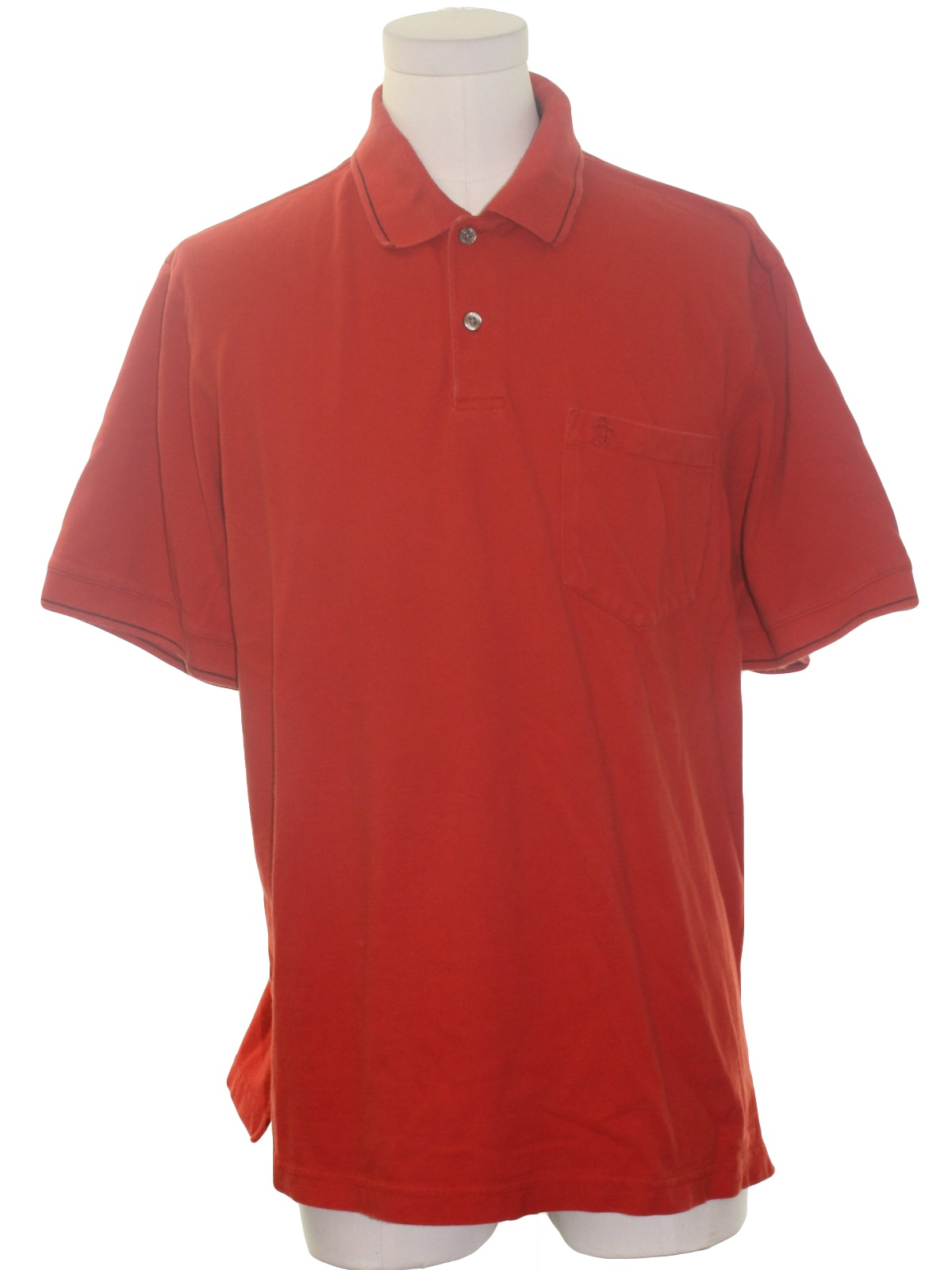 Shirt 90s Penguin Grand Slam Mens Red Cotton Short Sleeve