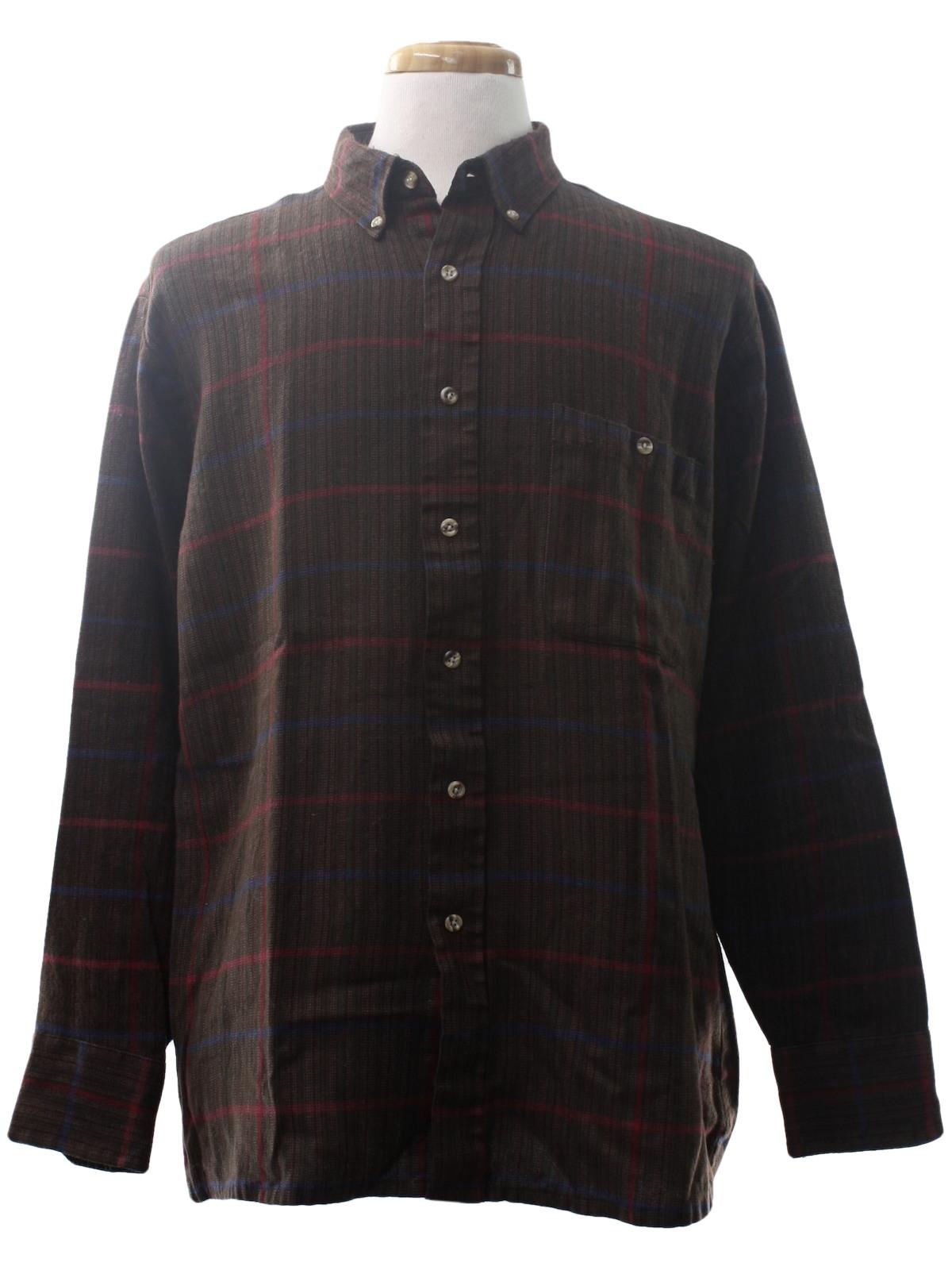 Vintage van heusen 1980s shirt 80s van heusen mens dark for Van heusen plaid shirts
