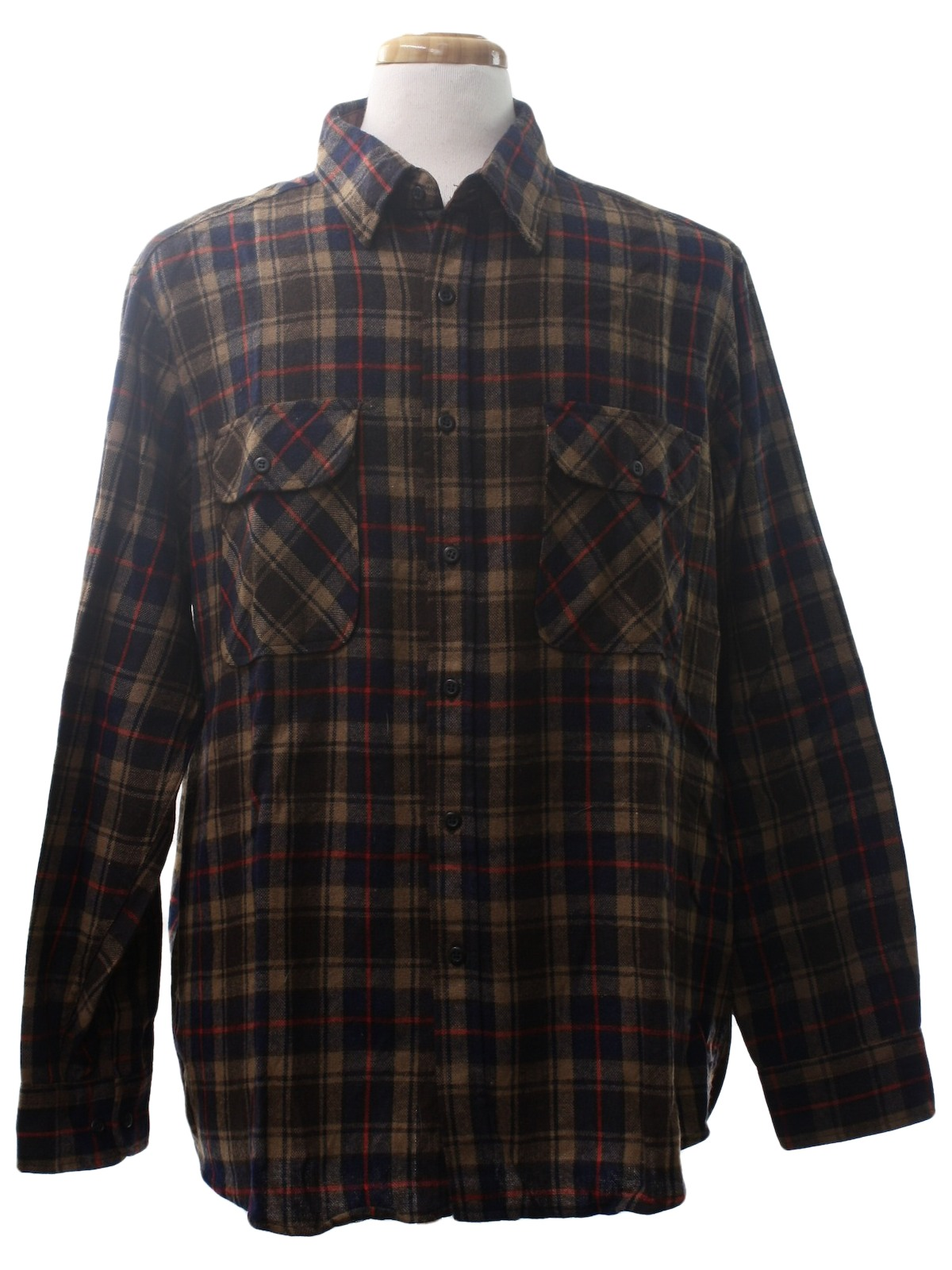 Retro 80 39 s wool shirt 80s sears mens navy blue tan for Navy blue and red flannel shirt