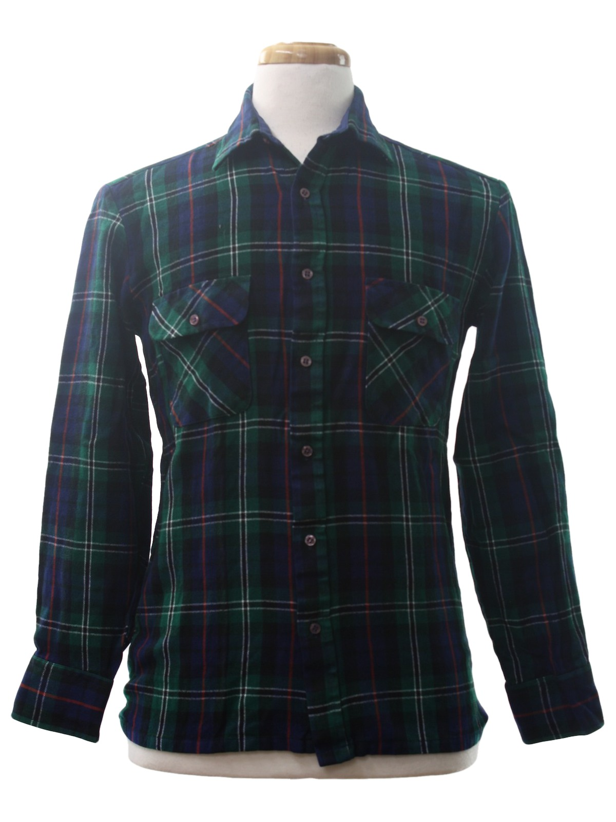 1980 39 s retro shirt 80s backpacker mens navy blue green for Navy blue and red flannel shirt