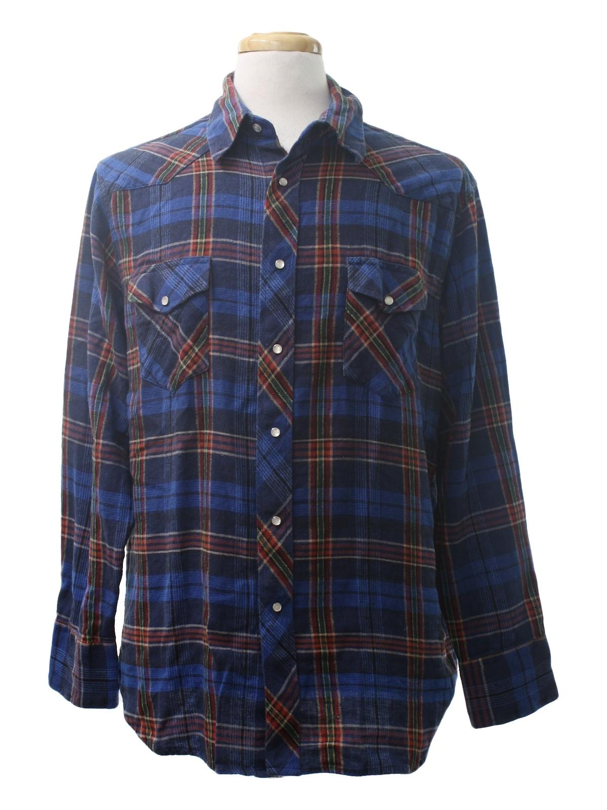 80s western shirt wrangler 80s wrangler mens vivid for Navy blue and red flannel shirt