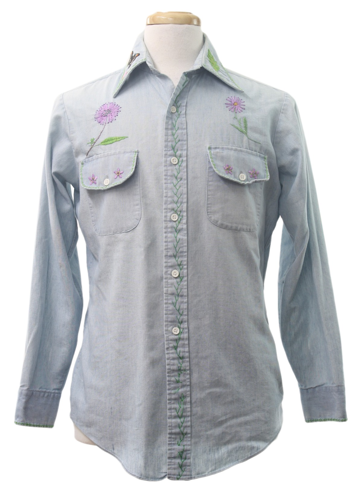 1970s kmart hippie shirt 70s kmart unisex blue for Kmart button up shirts