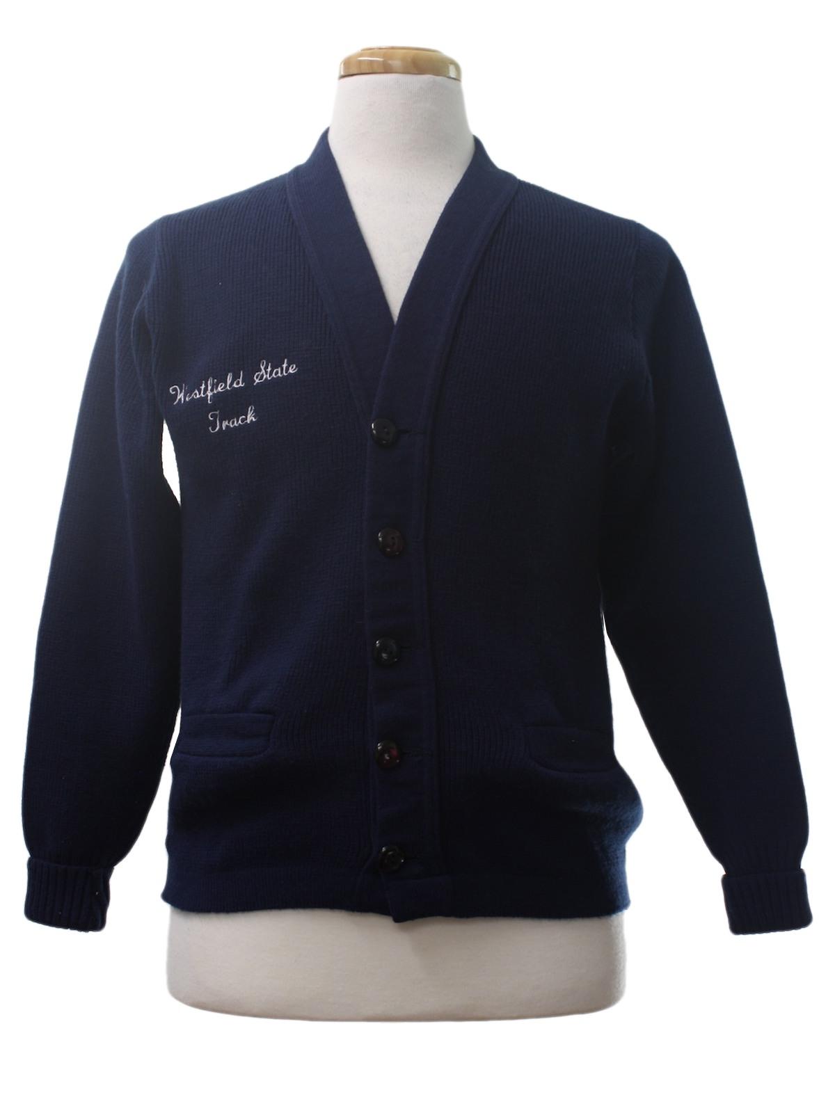 Vintage 80s Caridgan Sweater 80s East Tenn Mens Navy Blue
