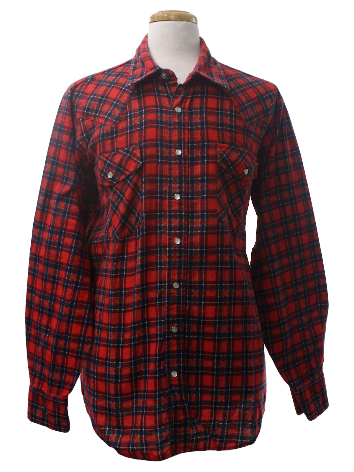 Vintage 1980 39 s western shirt 80s williams bay mens red for Navy blue and red flannel shirt