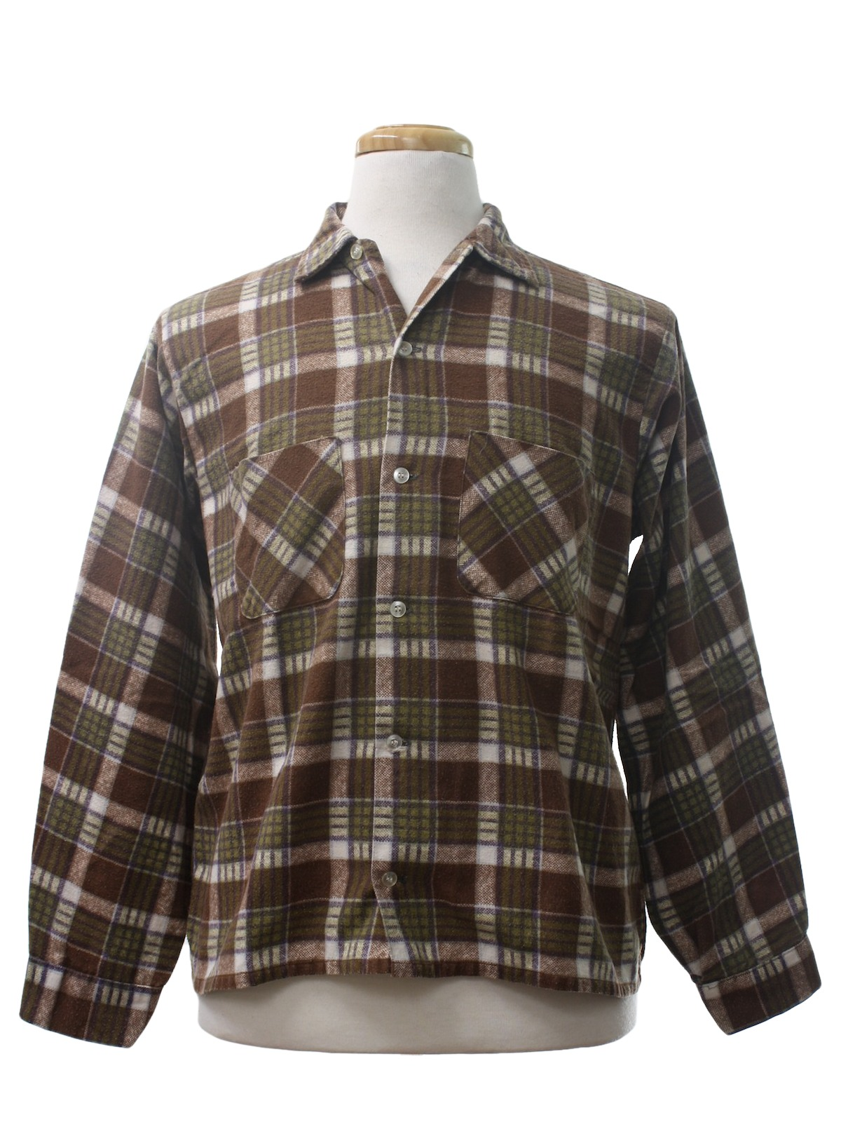 Vintage 1960 39 s shirt 60s brent mens soft brown green for Cotton polyester flannel shirts