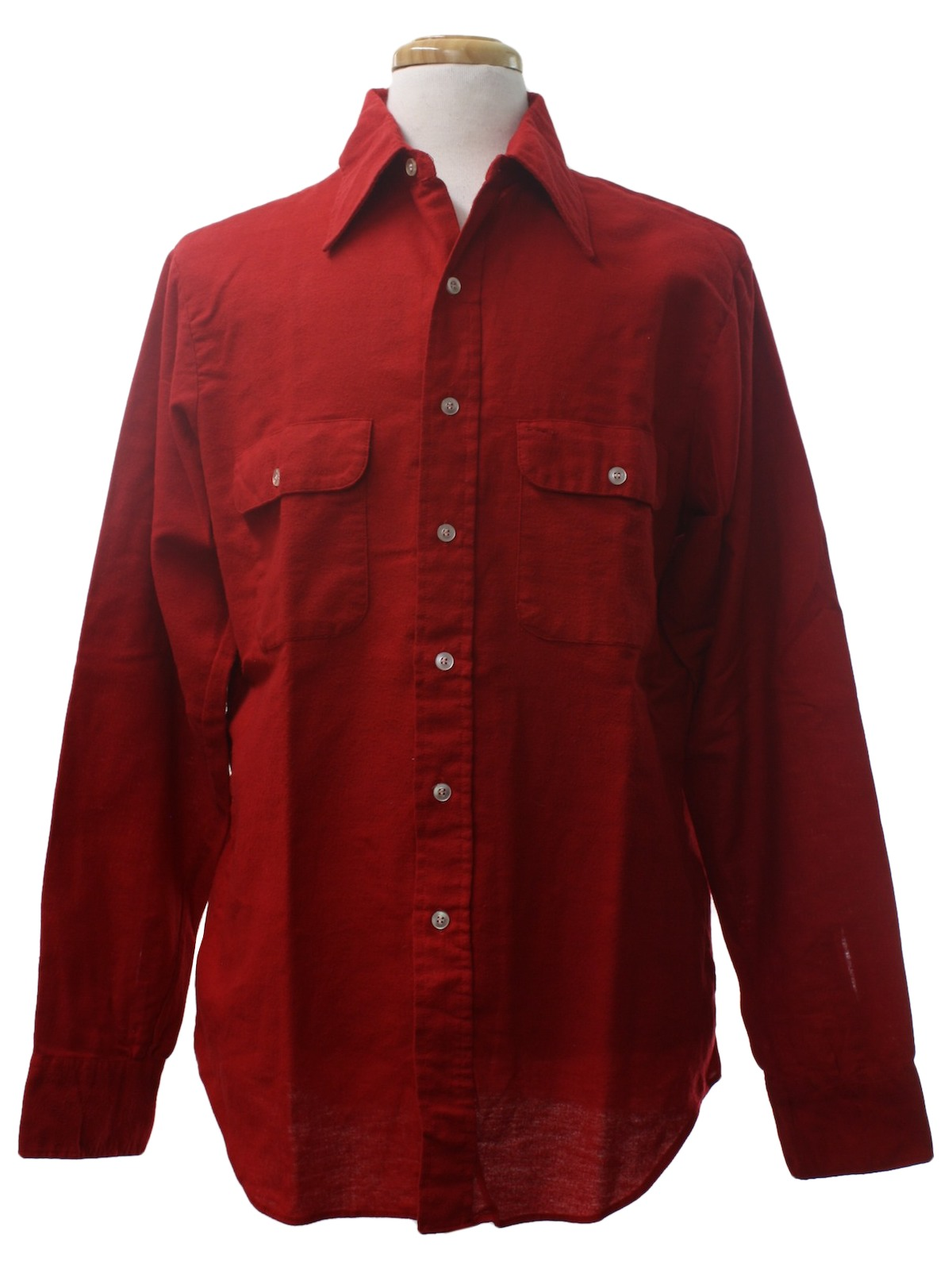70s retro shirt 70s montgomery ward mens cherry red for Cotton polyester flannel shirts