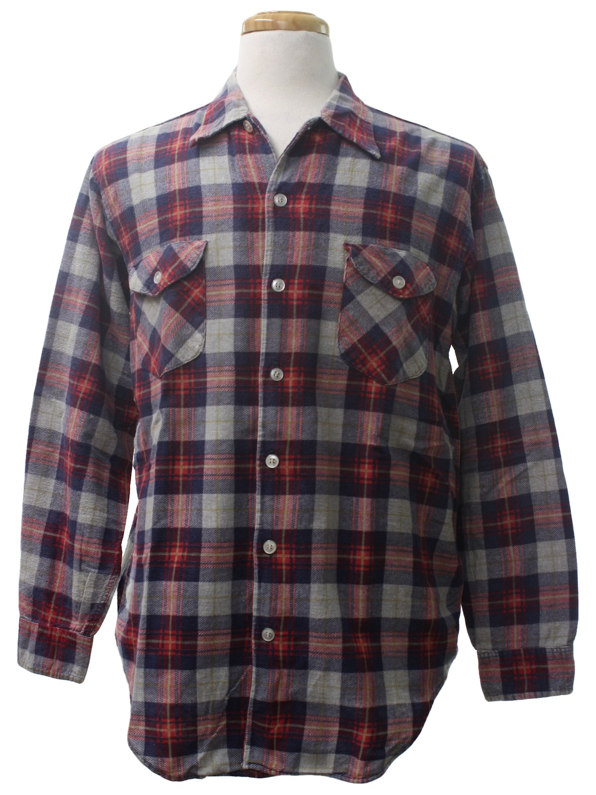 Retro 1980 39 s shirt missing label 80s missing label for Navy blue and red flannel shirt