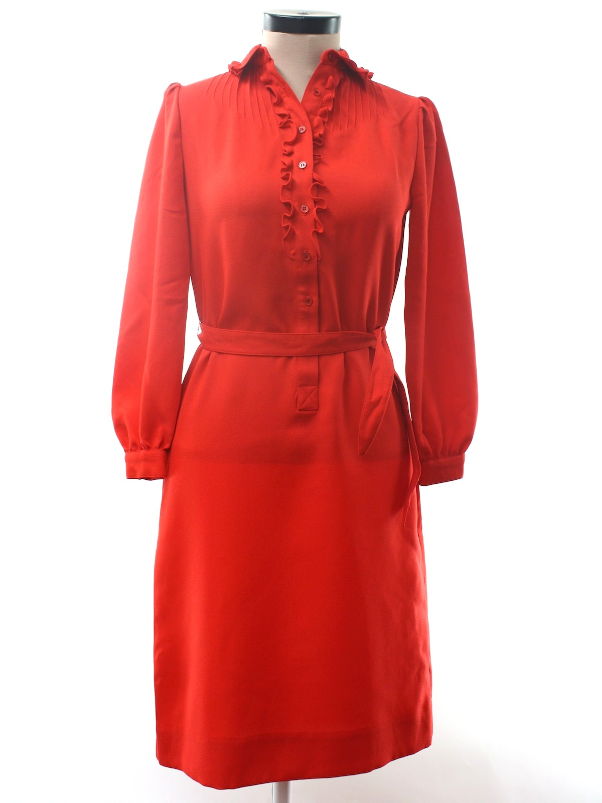 Vintage Seventies Disco Dress 70s No Label Womens Red Polyester
