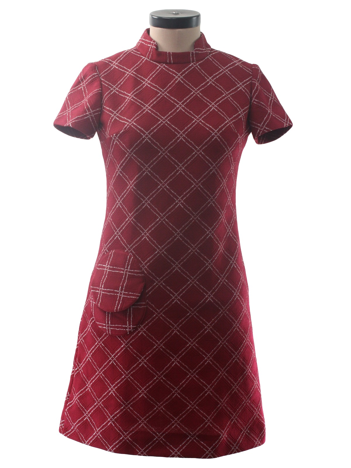 f34026b9ac05 1960 s Retro Dress  60s -Merley- Womens maroon and white polyester ...