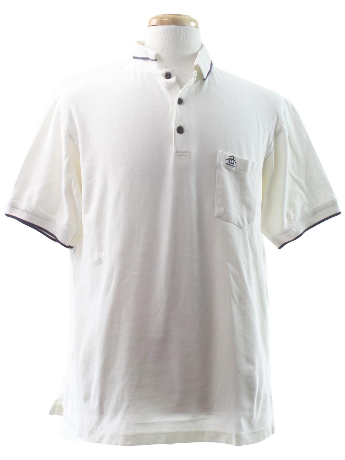 Retro 90 39 s shirt 90s munsingwear mens white background for Men s cotton polo shirts with pocket