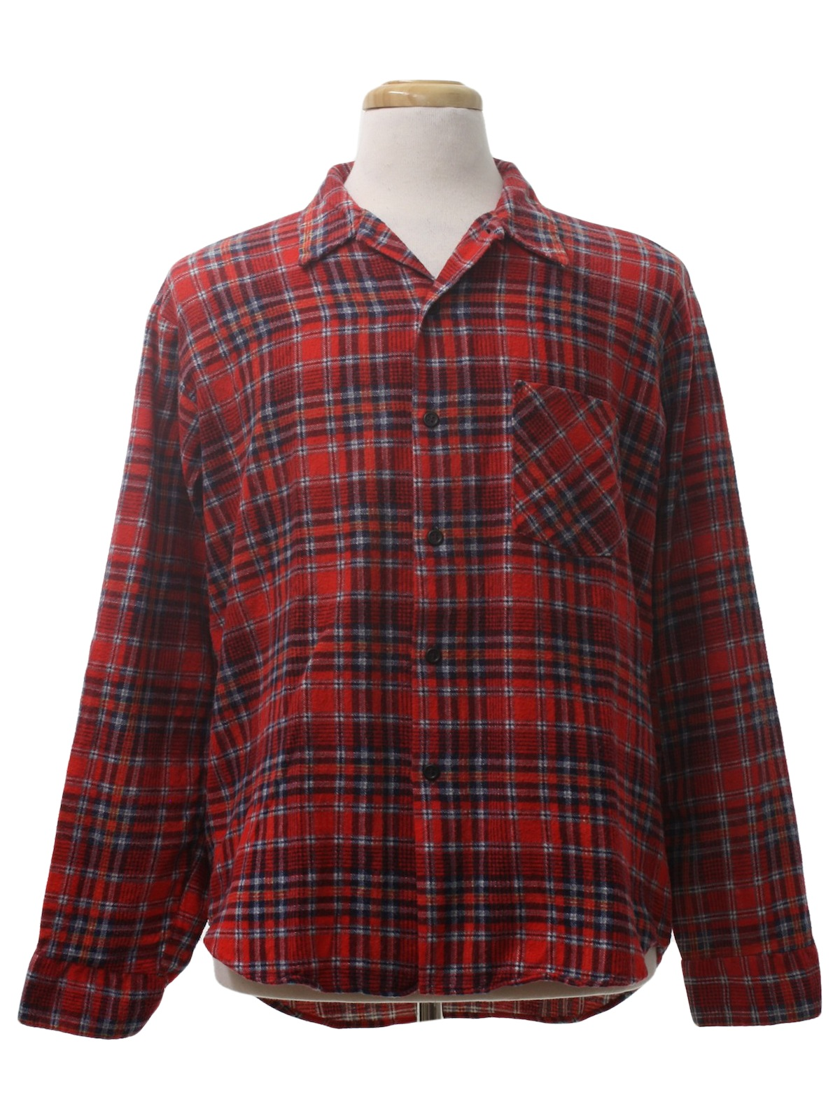 Vintage 80s shirt 80s northway trading co mens red for Navy blue and red flannel shirt