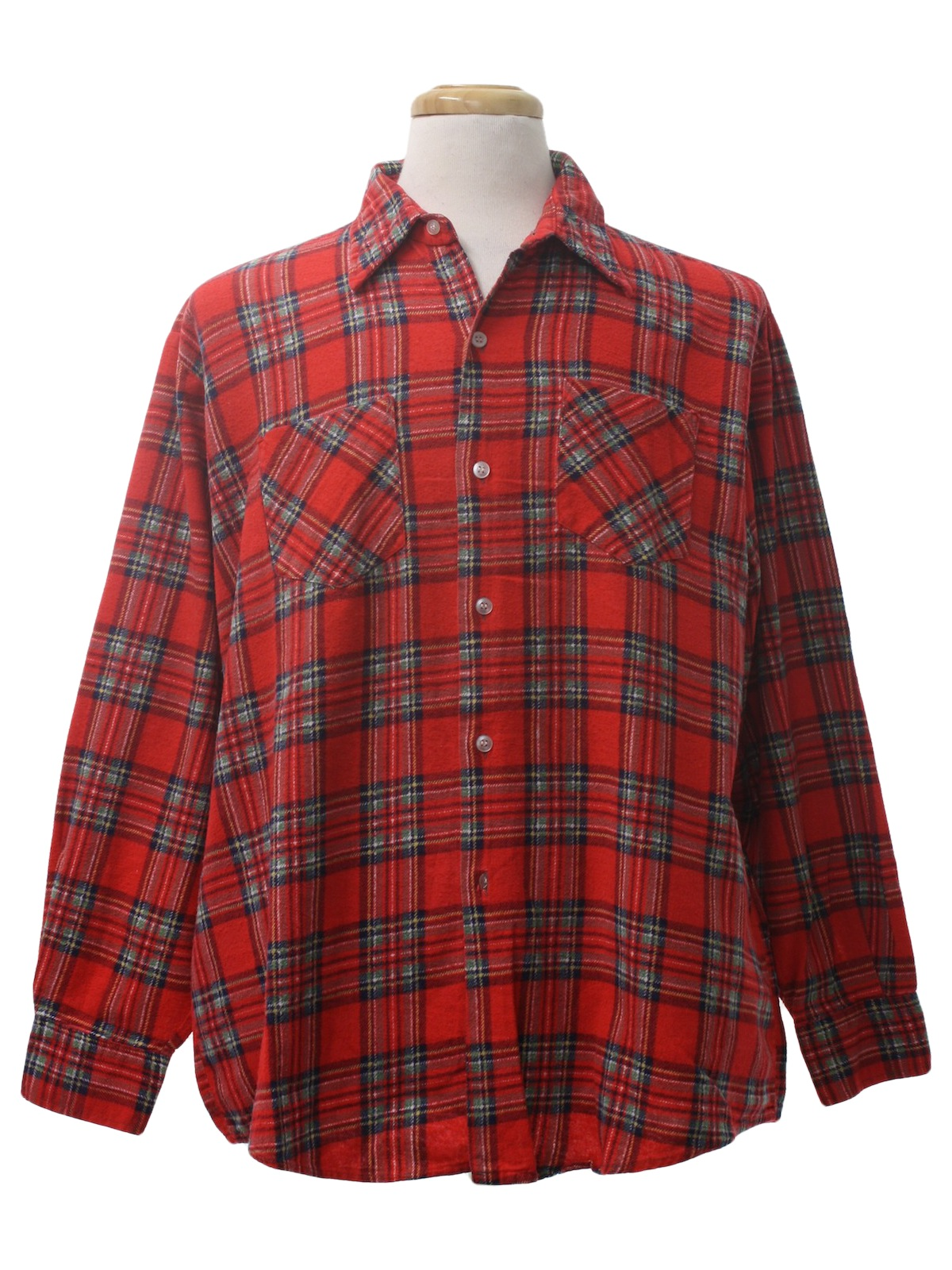 1980s vintage shirt 80s montgomery ward mens red for Navy blue and red flannel shirt