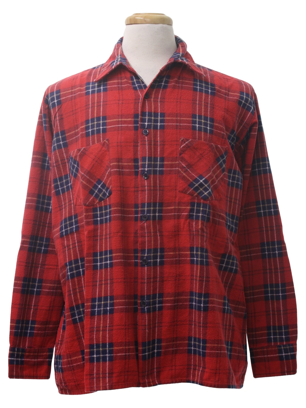 Vintage saugatuck nineties shirt 90s saugatuck mens red for Navy blue and red flannel shirt
