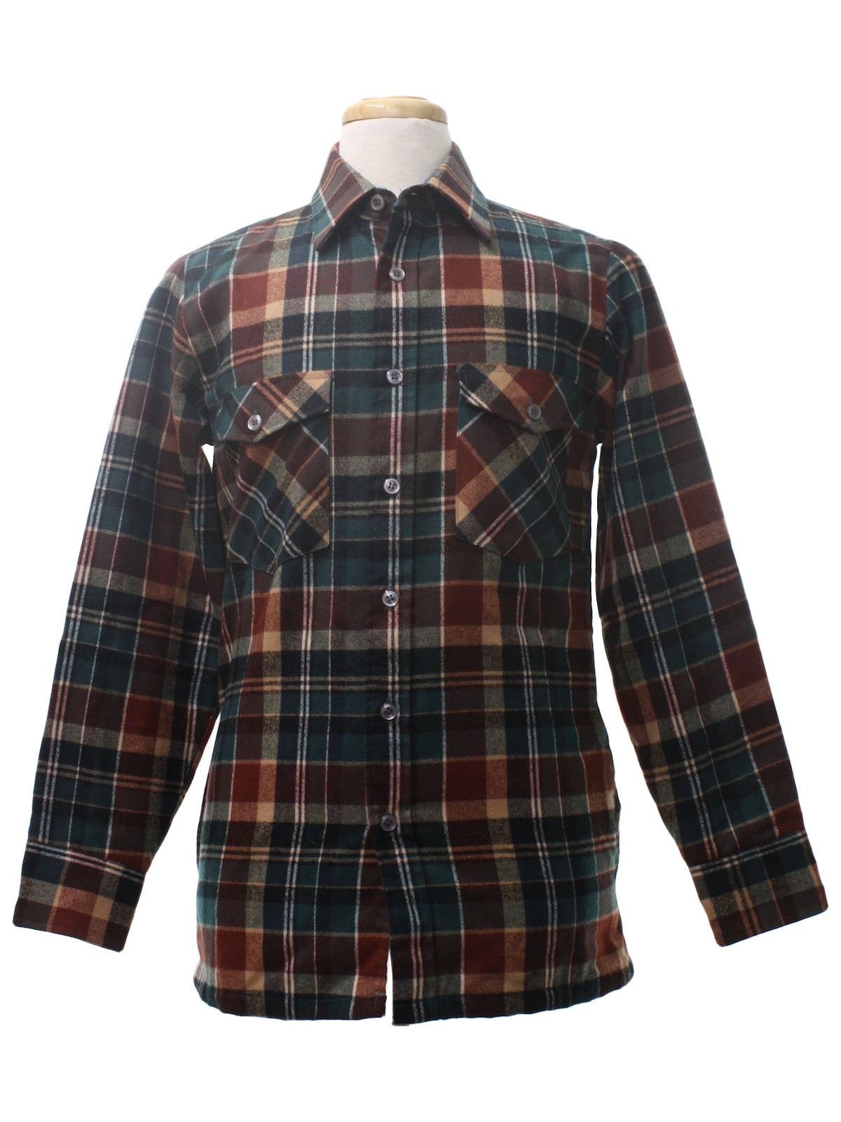 Retro 80 39 s jacket 80s wrangler mens teal tan brown for Polyester lined flannel shirts