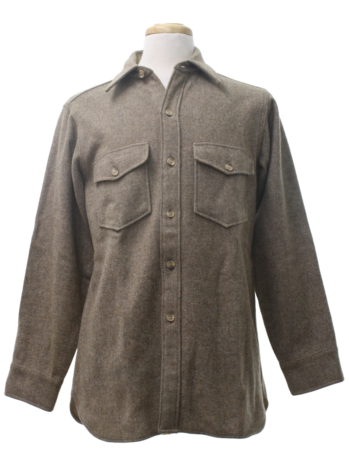 1980 39 s retro wool shirt 80s woolrich mens heathered tan for Mens wool flannel shirt